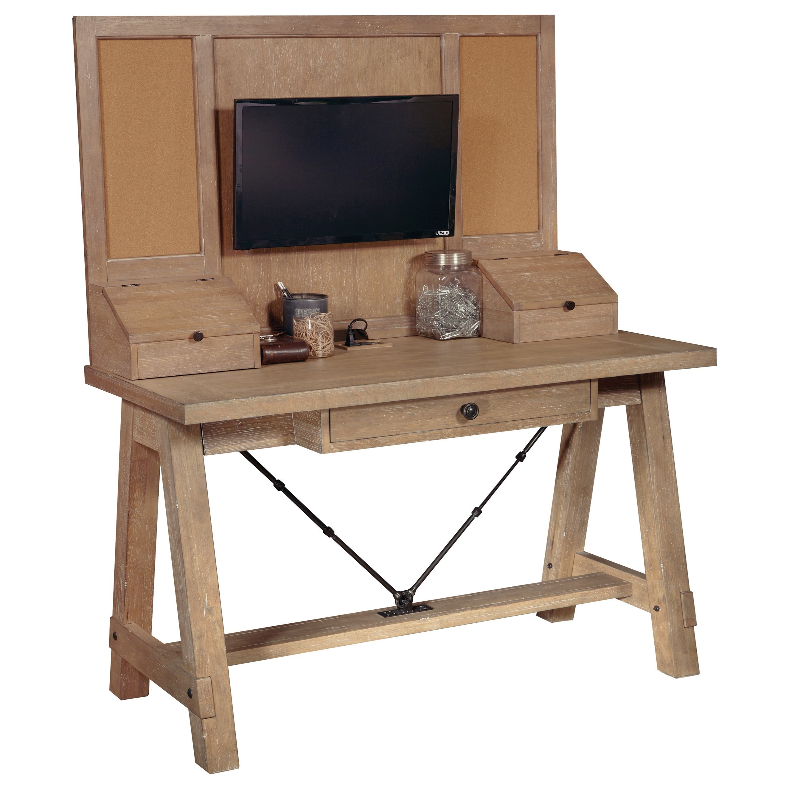 Asherton desk and hutch with built in outlets morris home desk hutch sets Morris home furniture hours