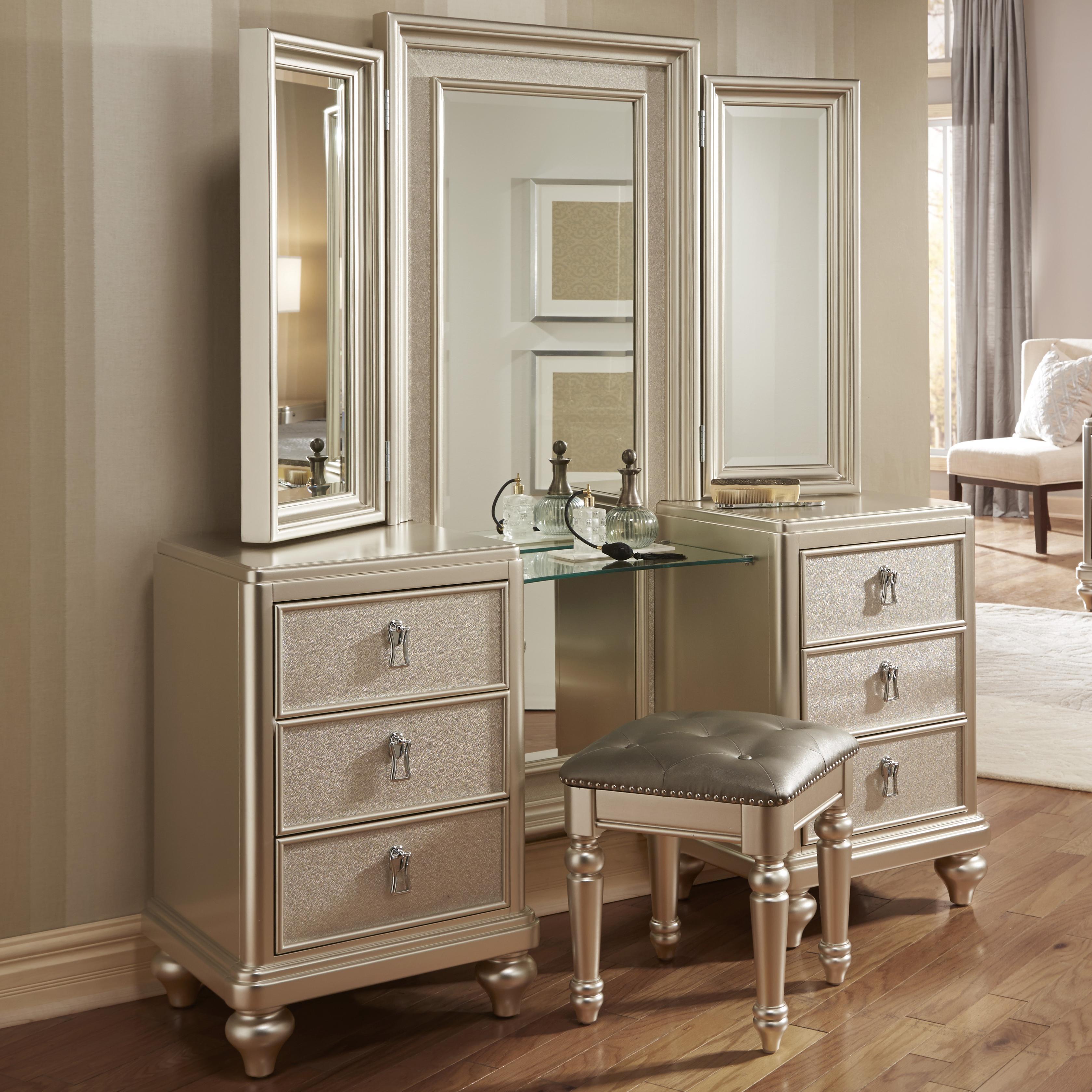 Samuel lawrence diva vanity dresser w stool miskelly furniture vanities vanity sets for Bedroom furniture vanity sets