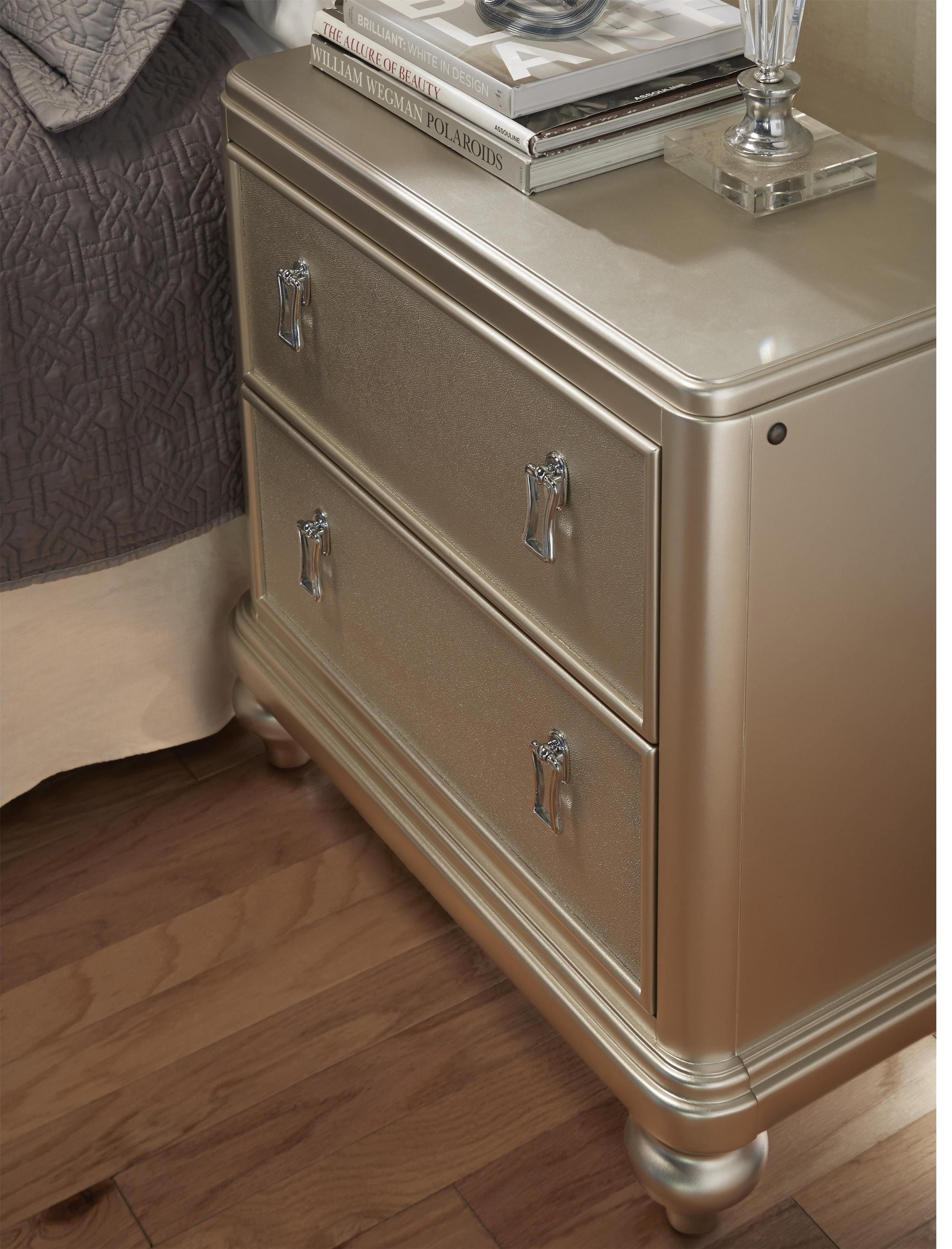 South beach 2 drawer nightstand w embossed faux leather morris home night stands Morris home furniture hours
