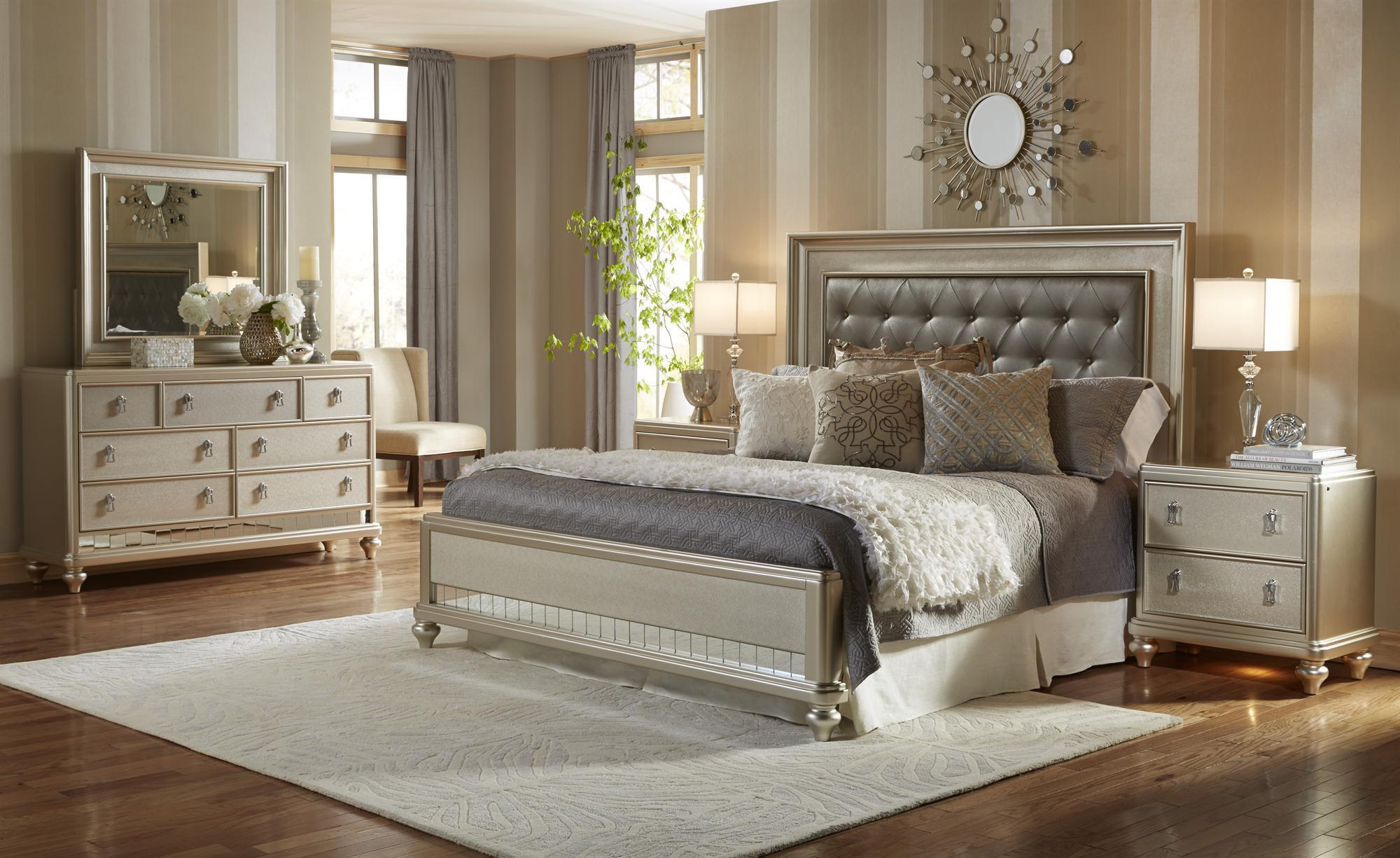 Samuel lawrence diva queen panel bed w tufted headboard for Bedroom furniture 37027