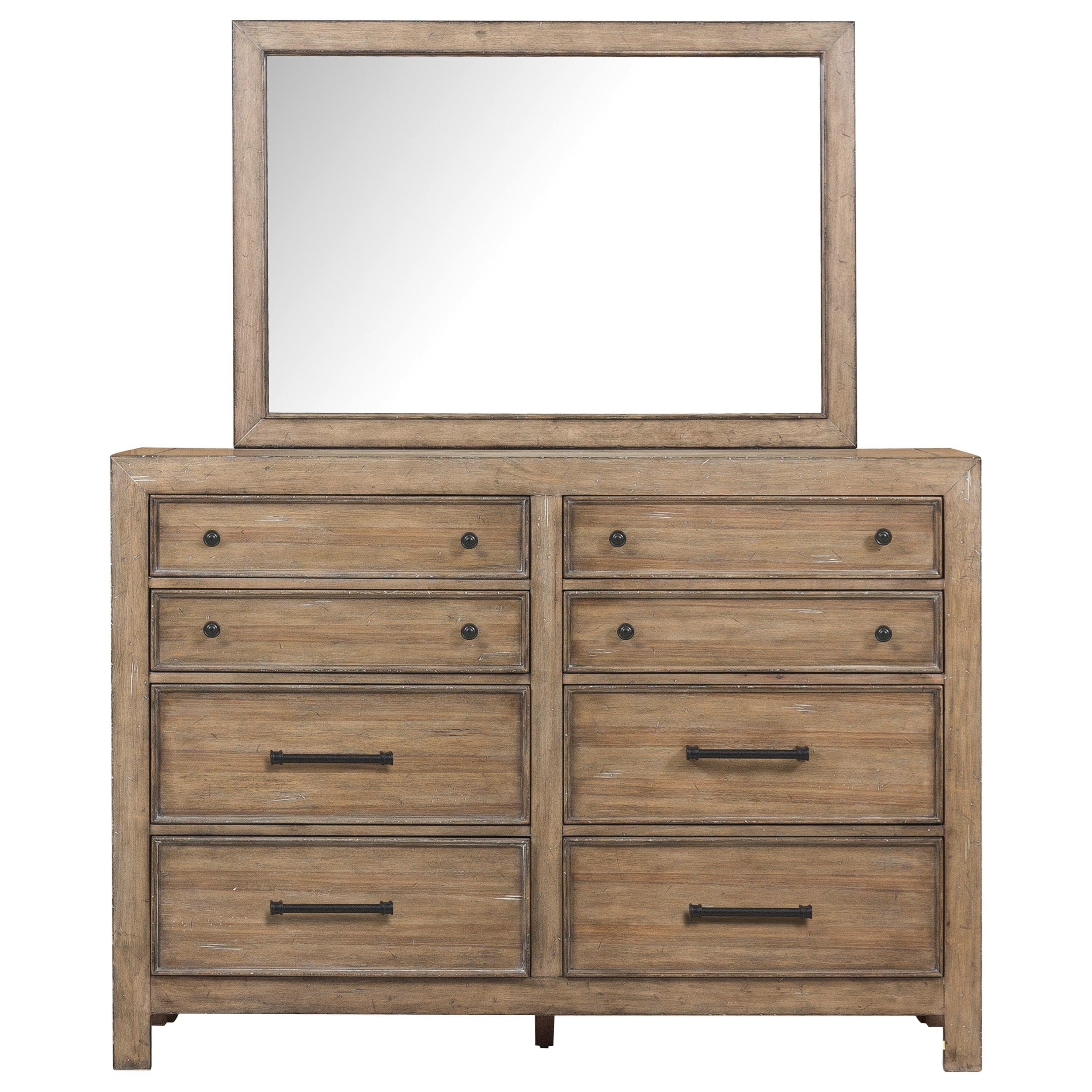 Samuel lawrence flatbush 8 drawer bureau and beveled for Bureau with mirror