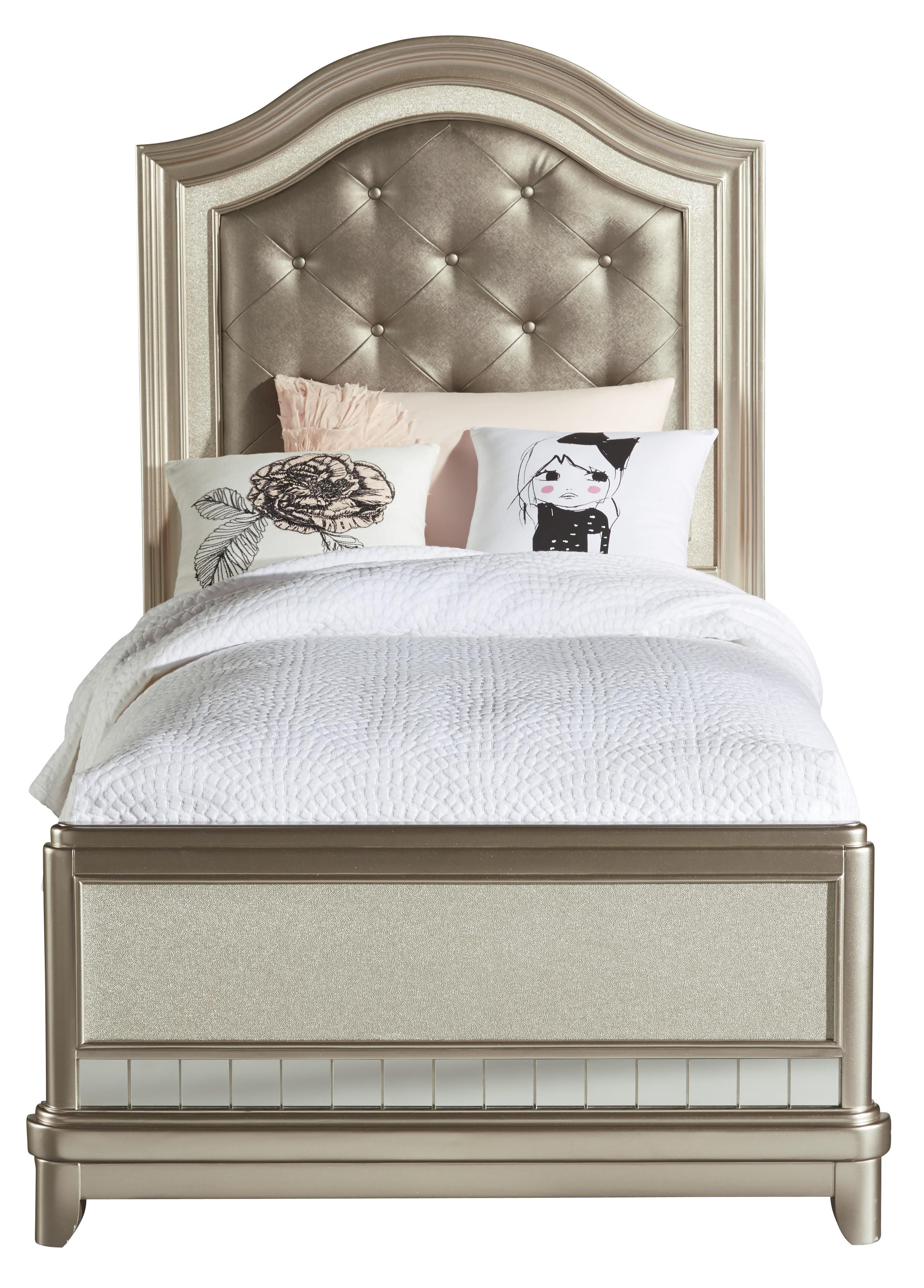 Samuel Lawrence Lil Diva Twin Panel Bed W Upholstered Headboard Darvin Furniture Panel Beds
