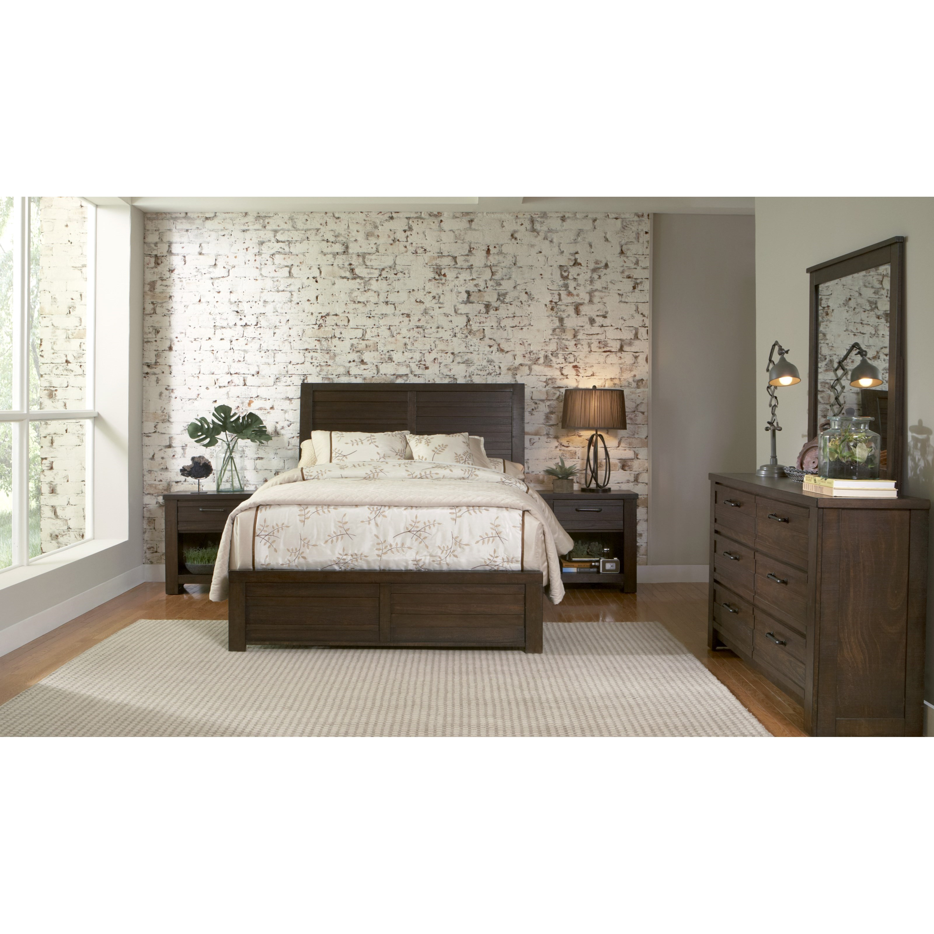 Samuel lawrence ruff hewn full bedroom group adcock for Bedroom furniture groups