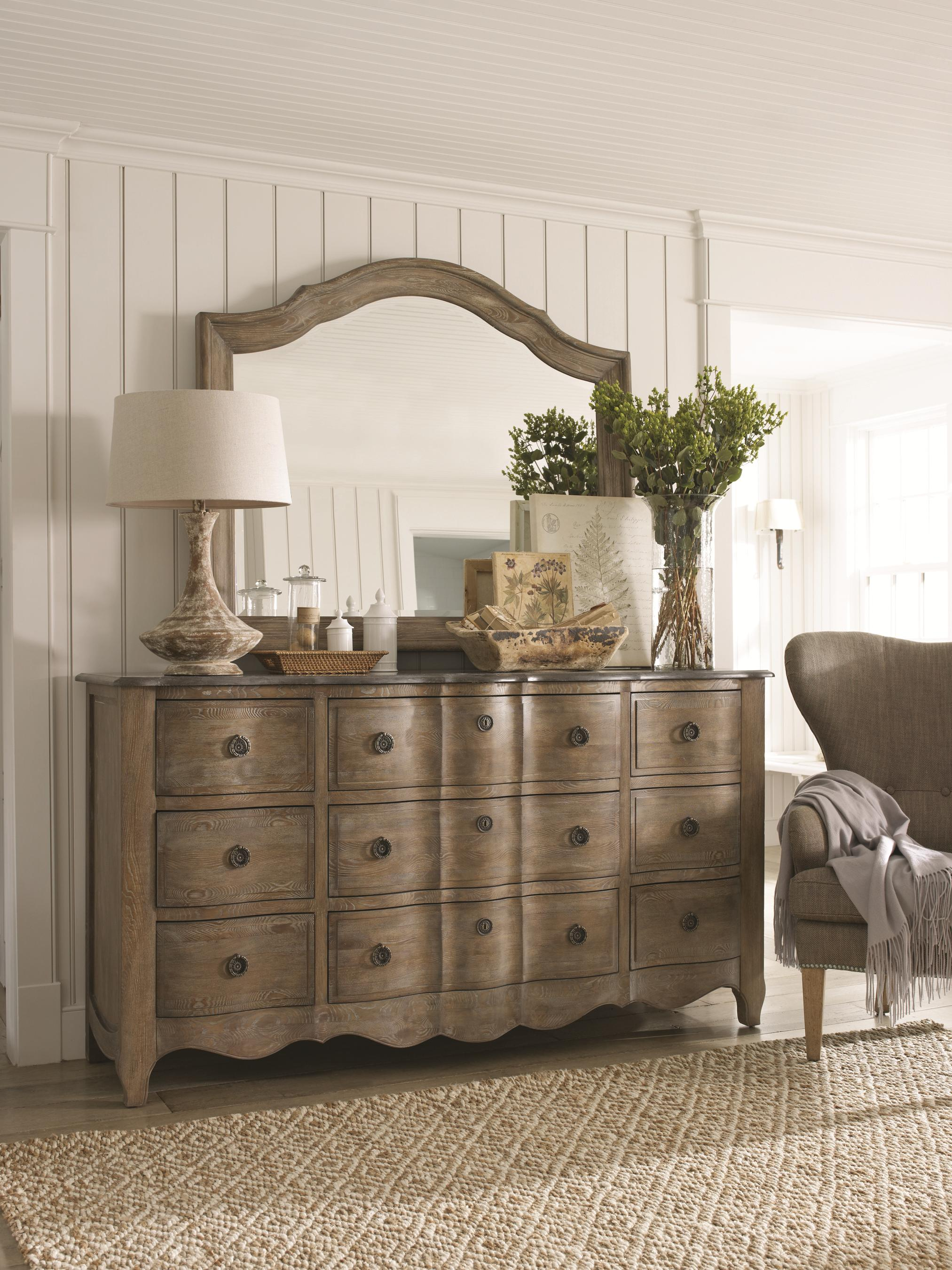 Schnadig Cobblestone Bedroom 9 Drawer Dresser With Scalloped Apron And Granite Top