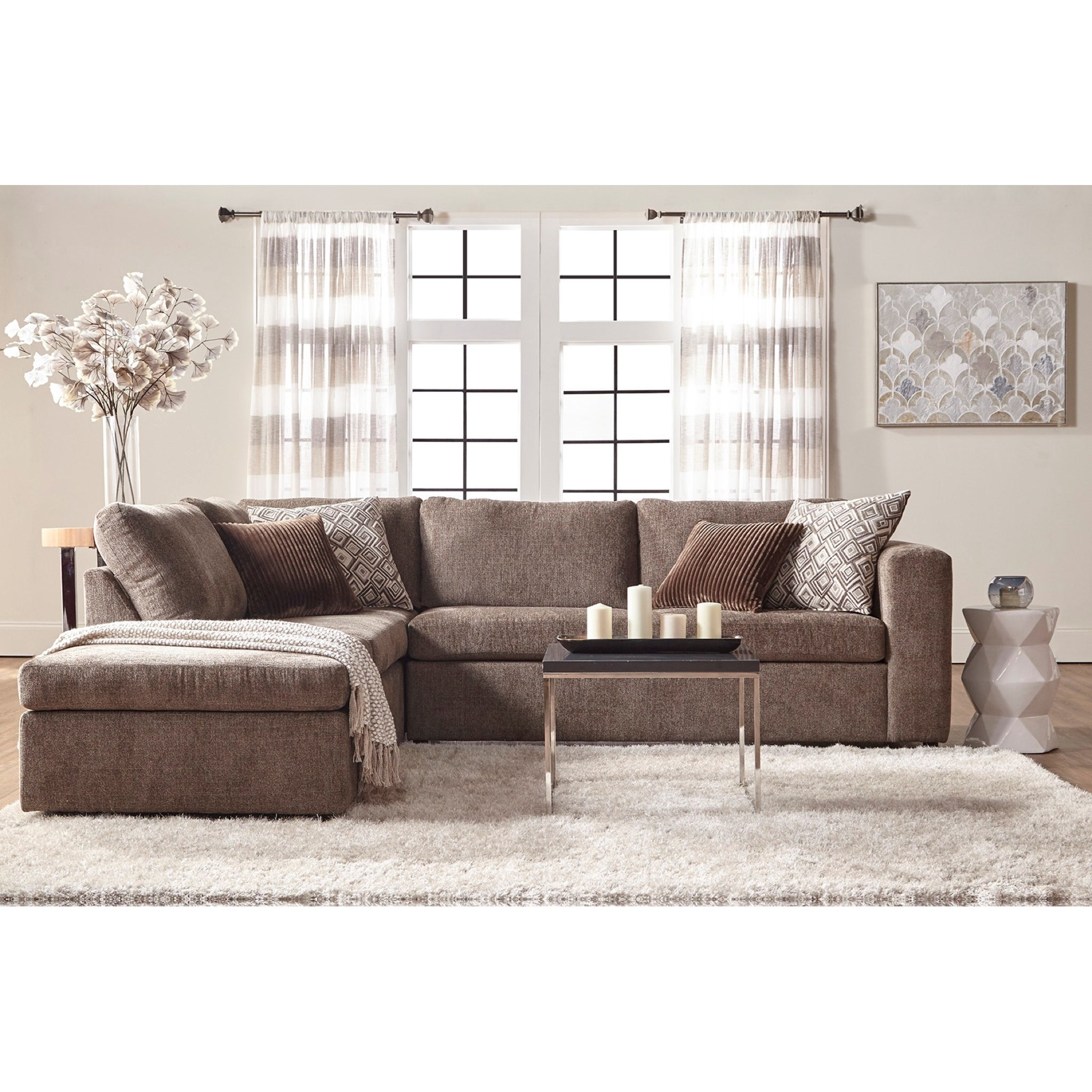 Serta Upholstery Angora Casual Contemporary Sectional Sofa With Chaise Rotmans Sectional Sofas
