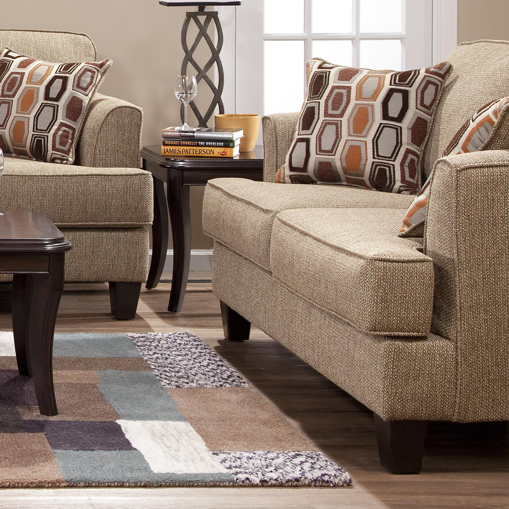 serta upholstery by hughes furniture 5600 transitional love seat with accent pillows stoney. Black Bedroom Furniture Sets. Home Design Ideas