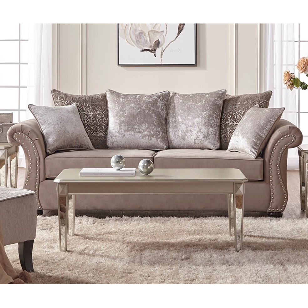 serta upholstery by hughes furniture 7500 traditional stationary sofa with nailhead trim. Black Bedroom Furniture Sets. Home Design Ideas