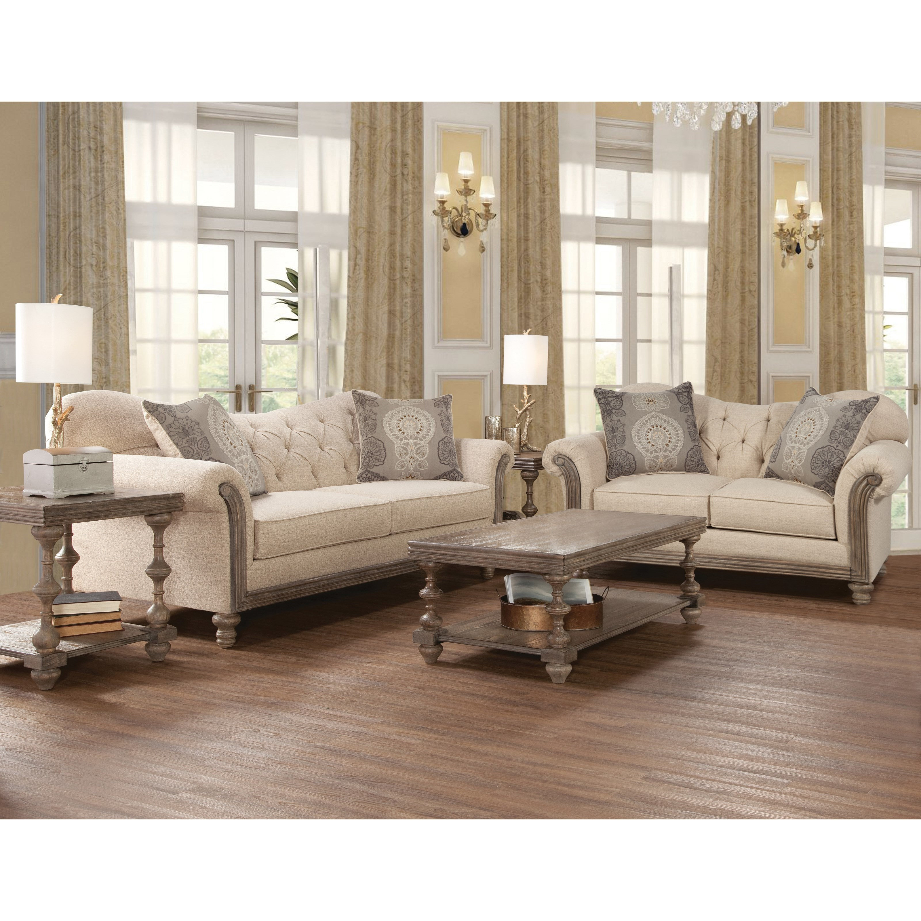 Serta Upholstery By Hughes Furniture 8725 Traditional Stationary Loveseat With Tufted Back
