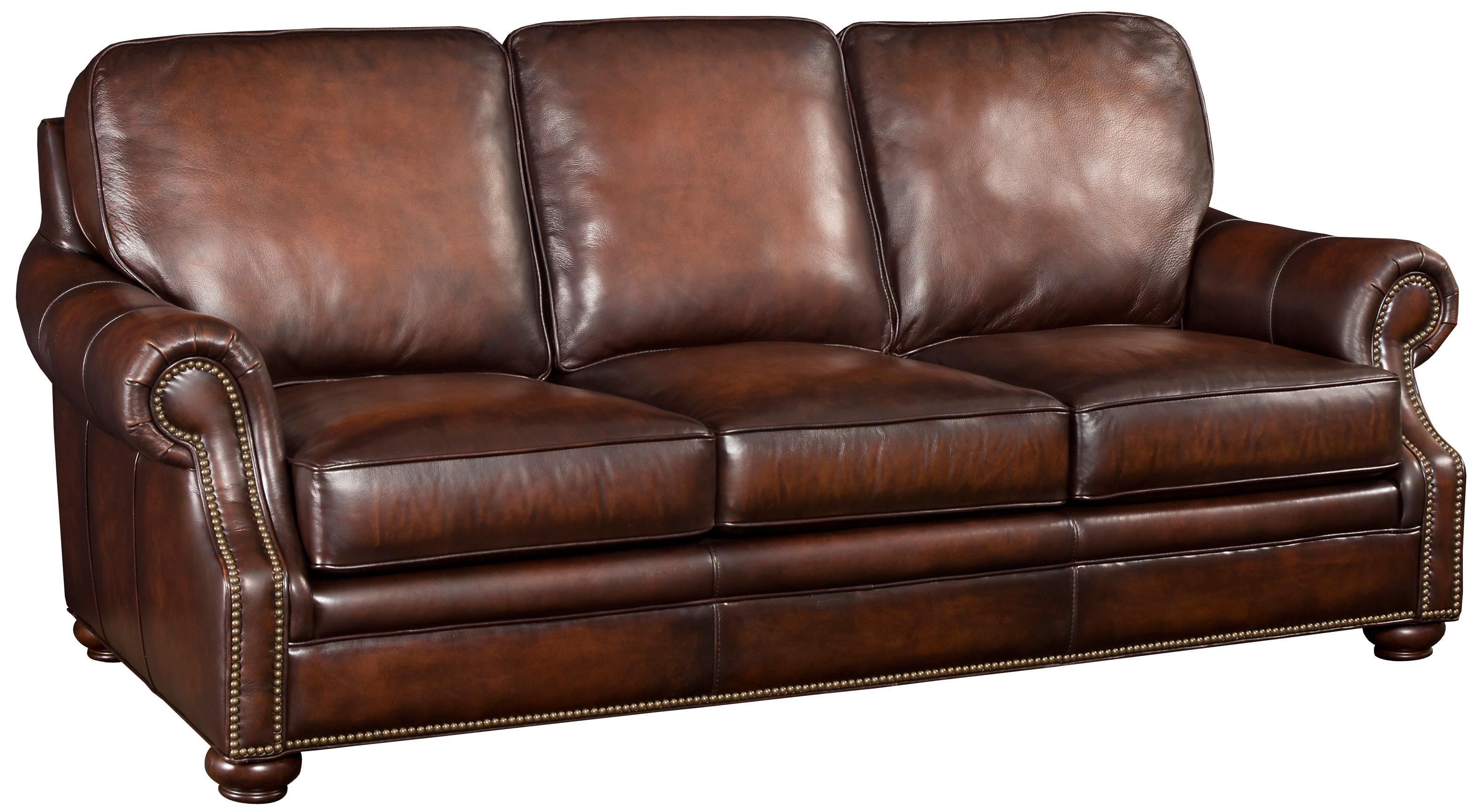 Hooker furniture ss185 brown leather sofa with wood for Leather sofa