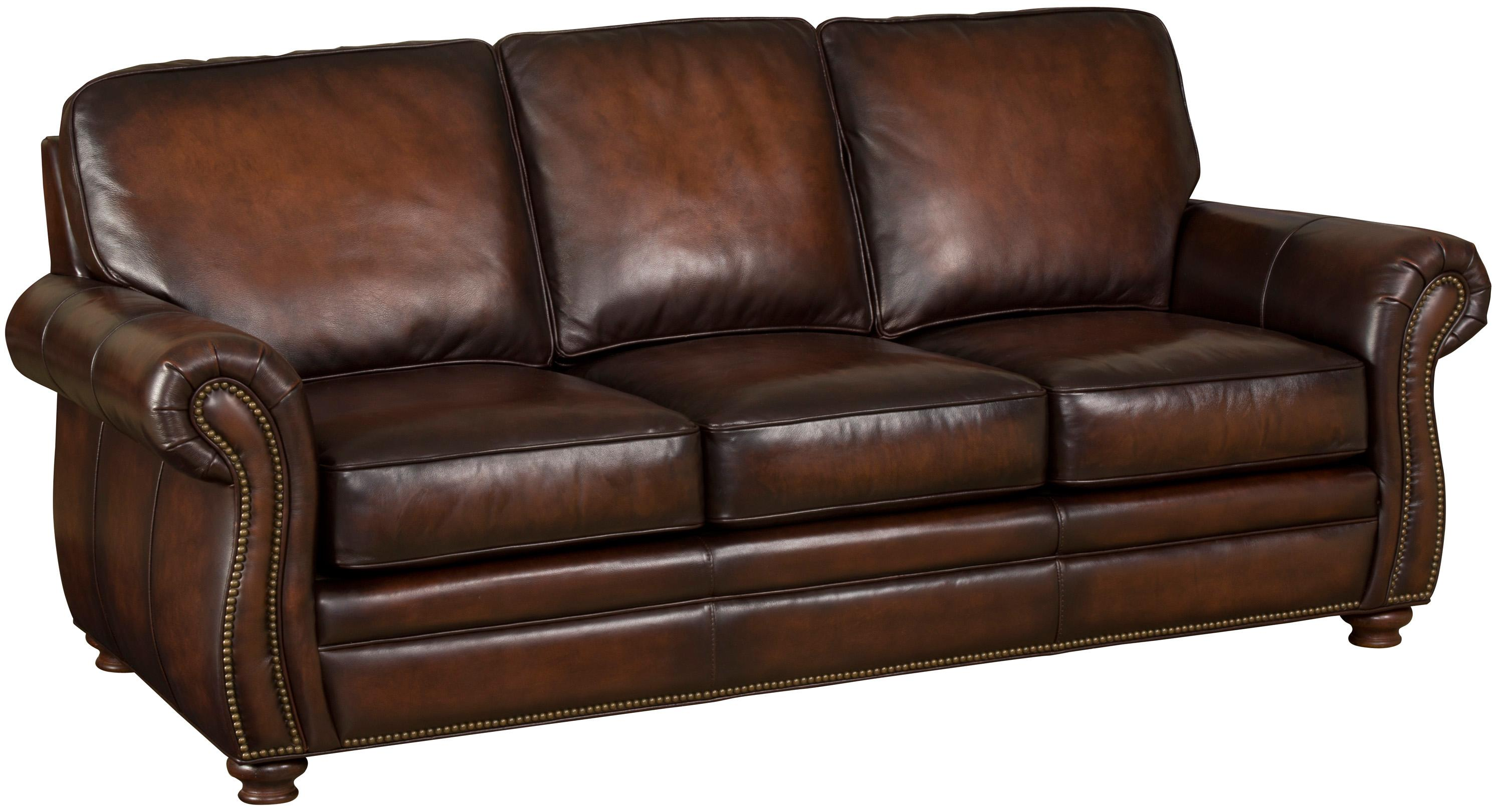 hooker furniture ss186 brown leather sofa with exposed. Black Bedroom Furniture Sets. Home Design Ideas
