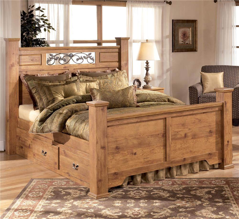 Signature Design By Ashley Bittersweet B219 77 71 74 96 50 Queen Poster Bed With Under Bed