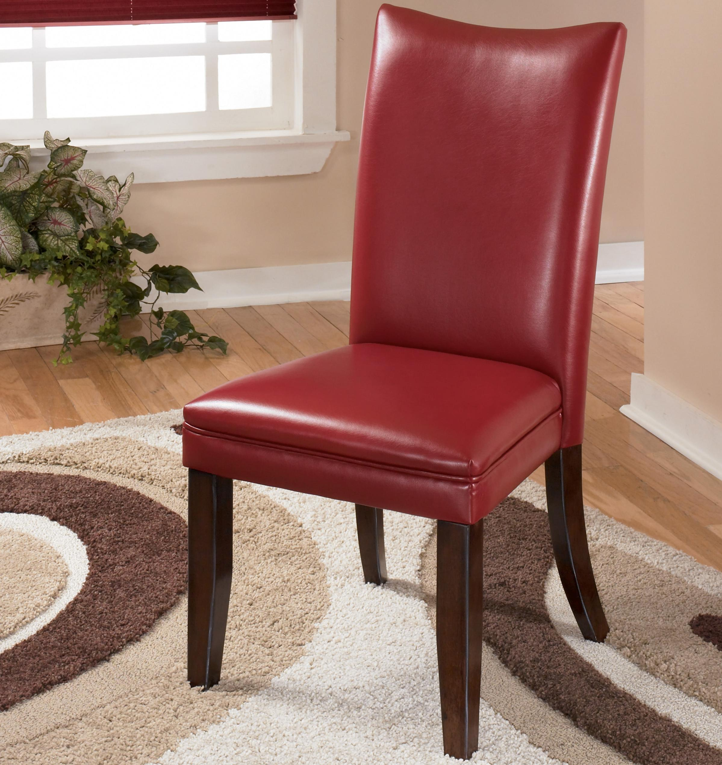 Ashley signature design charrell d357 03 red upholstered for Red upholstered dining chair