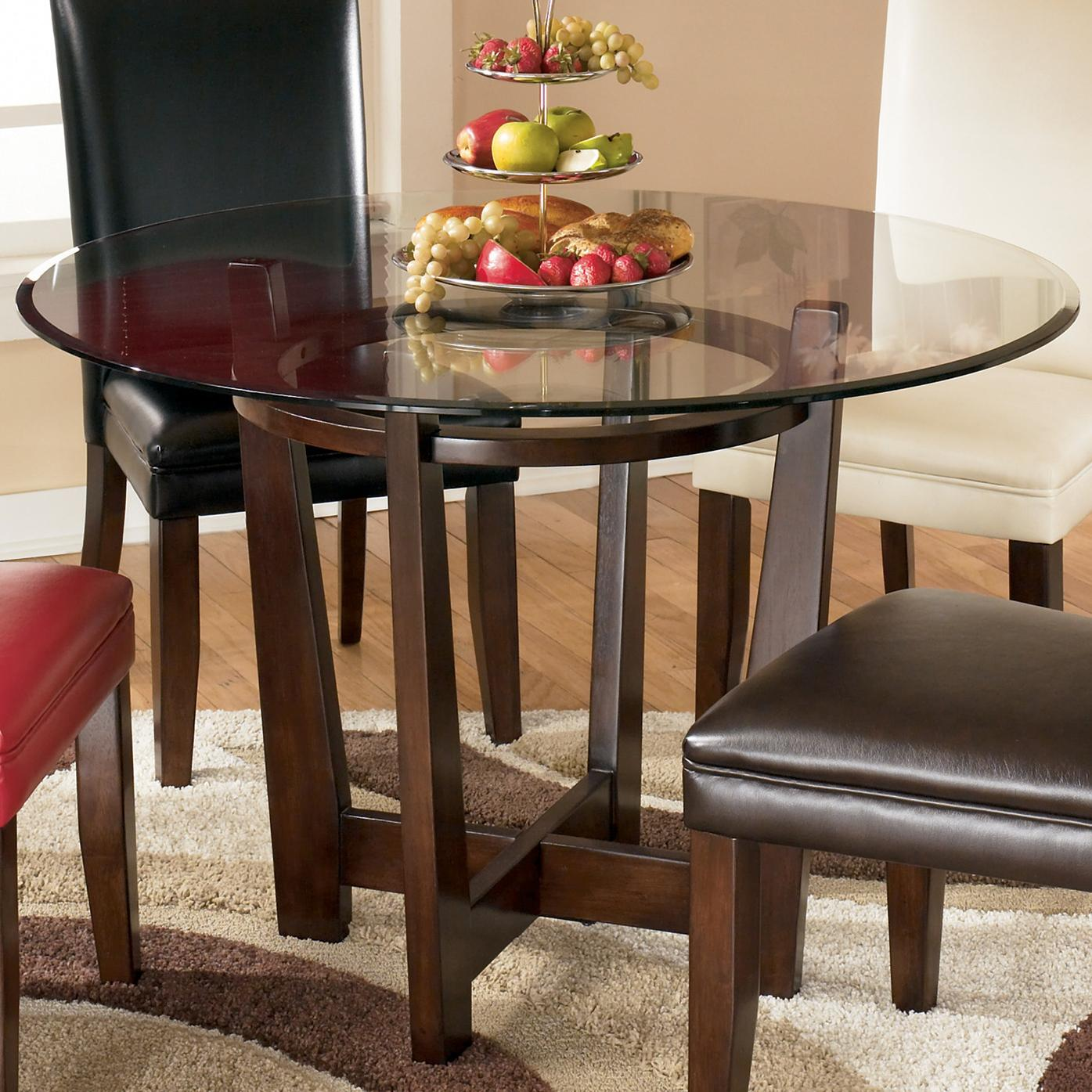 signature design by ashley charrell d357 15 round glass top table household furniture. Black Bedroom Furniture Sets. Home Design Ideas