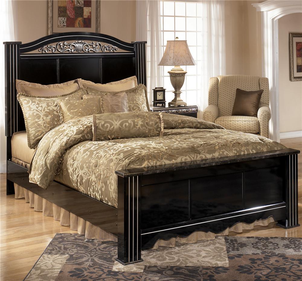 signature design by ashley constellations king headboard footboard bed rotmans headboard. Black Bedroom Furniture Sets. Home Design Ideas