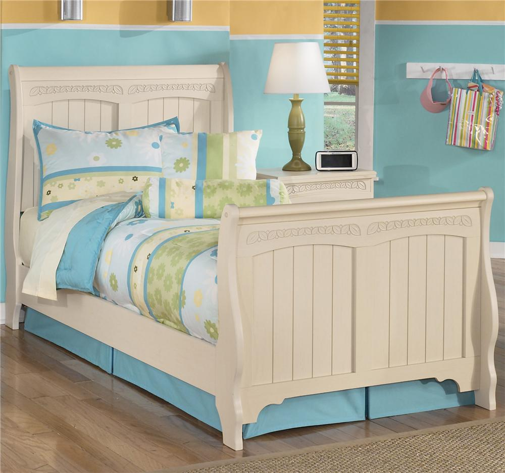 Signature design by ashley cottage retreat twin sleigh bed for Cottage retreat ii