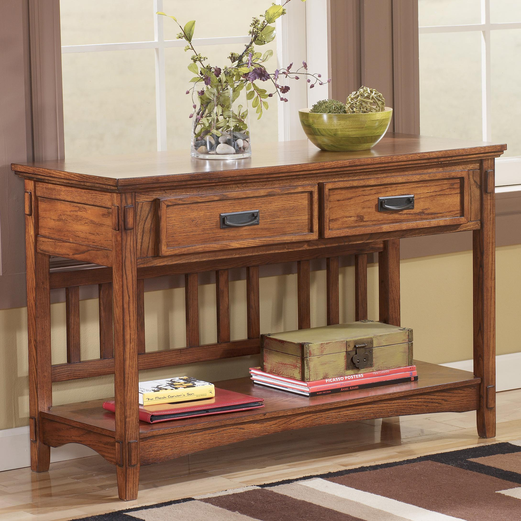 Signature design by ashley cross island t719 4 mission for Sofa table pictures