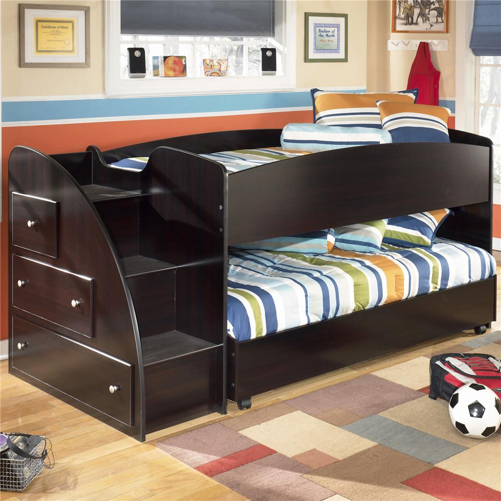 Signature Design By Ashley Furniture Embrace Twin Loft Bed With Caster Bed And Left Storage