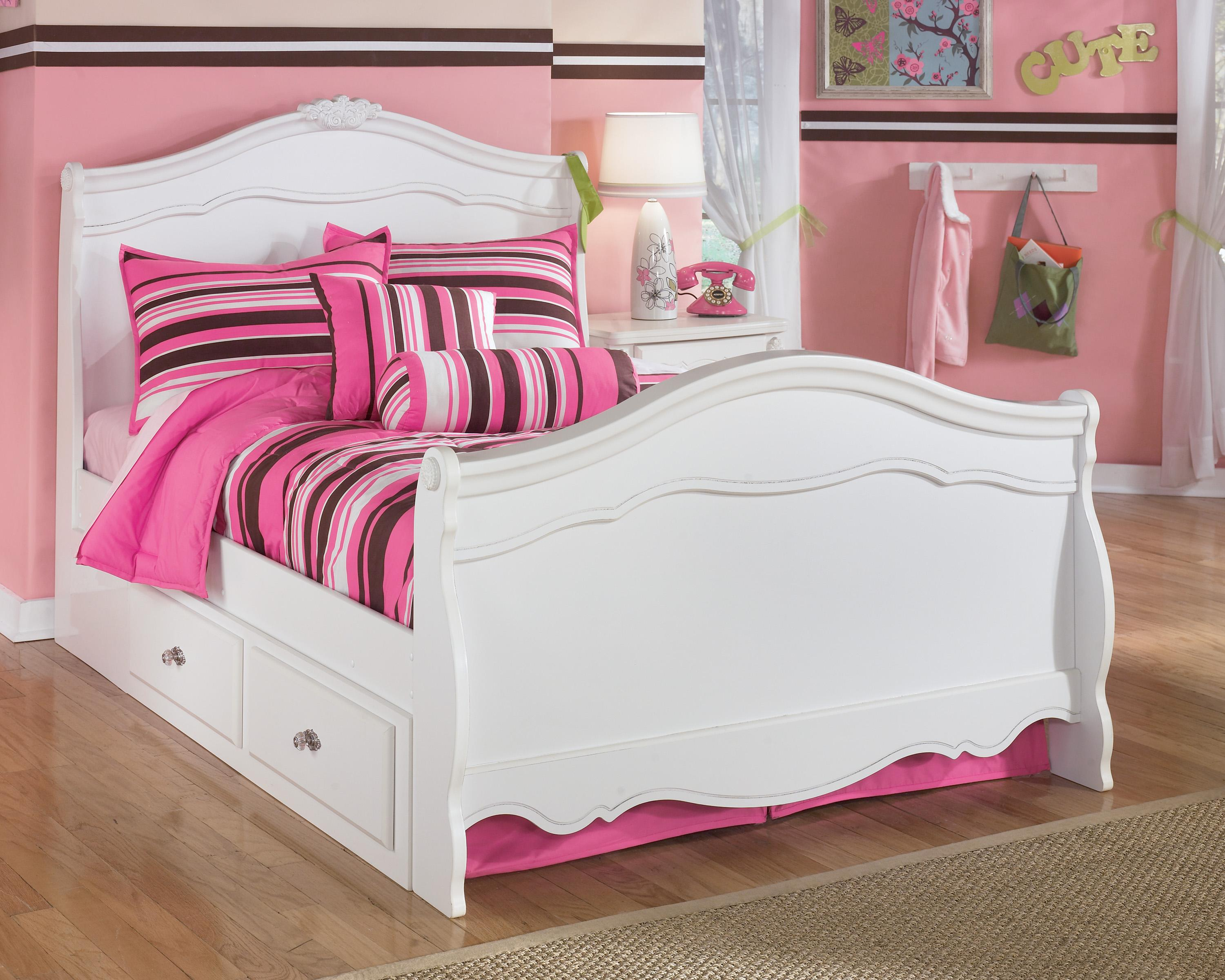 signature design by ashley exquisite full sleigh bed with under bed storage wayside furniture. Black Bedroom Furniture Sets. Home Design Ideas