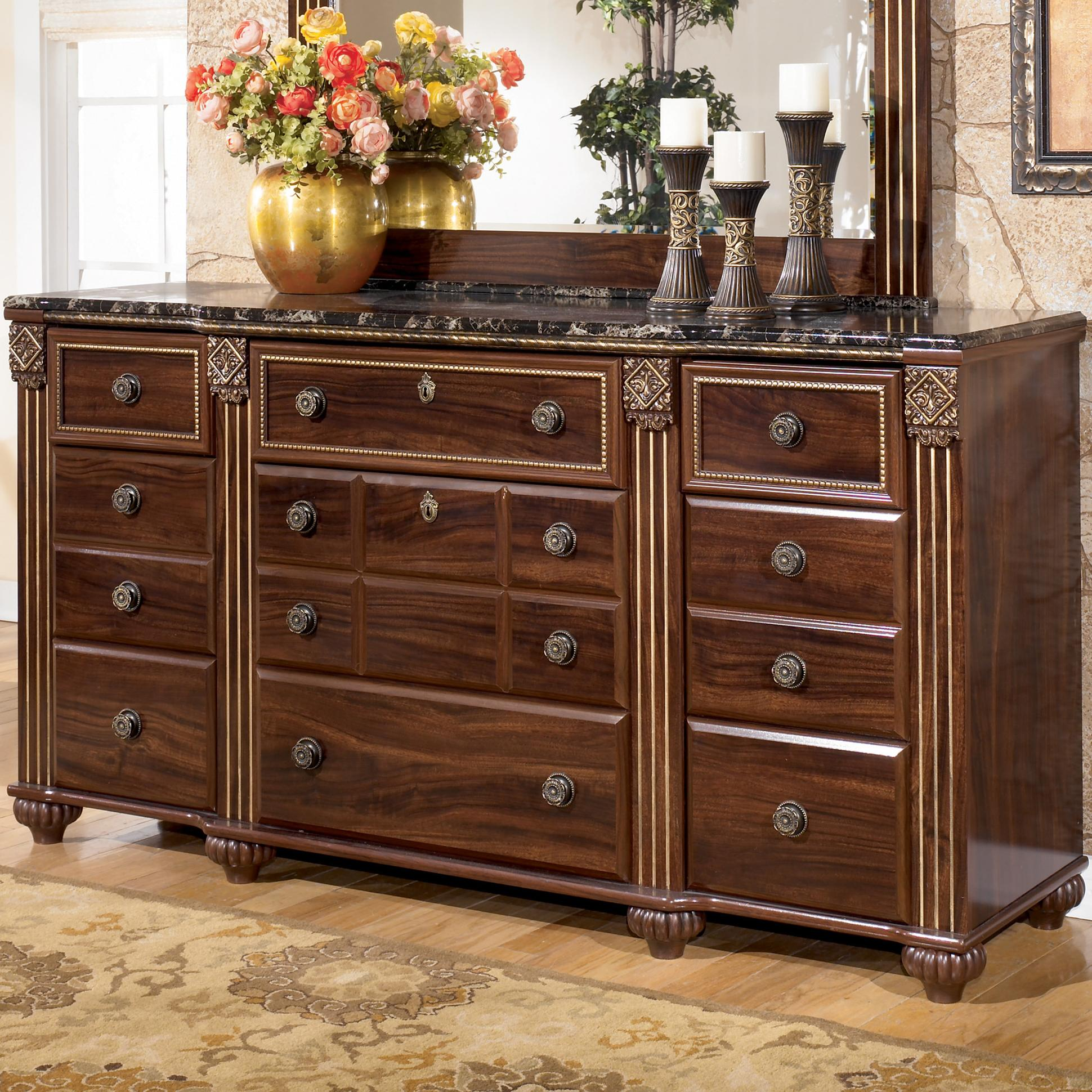 Signature Design By Ashley Gabriela B347 31 9 Drawer Traditional Dresser With Marbled Top Del