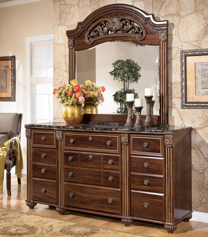 Ashley Signature Design Gabriela Traditional 9 Drawer Dresser With Mirror Dunk Bright