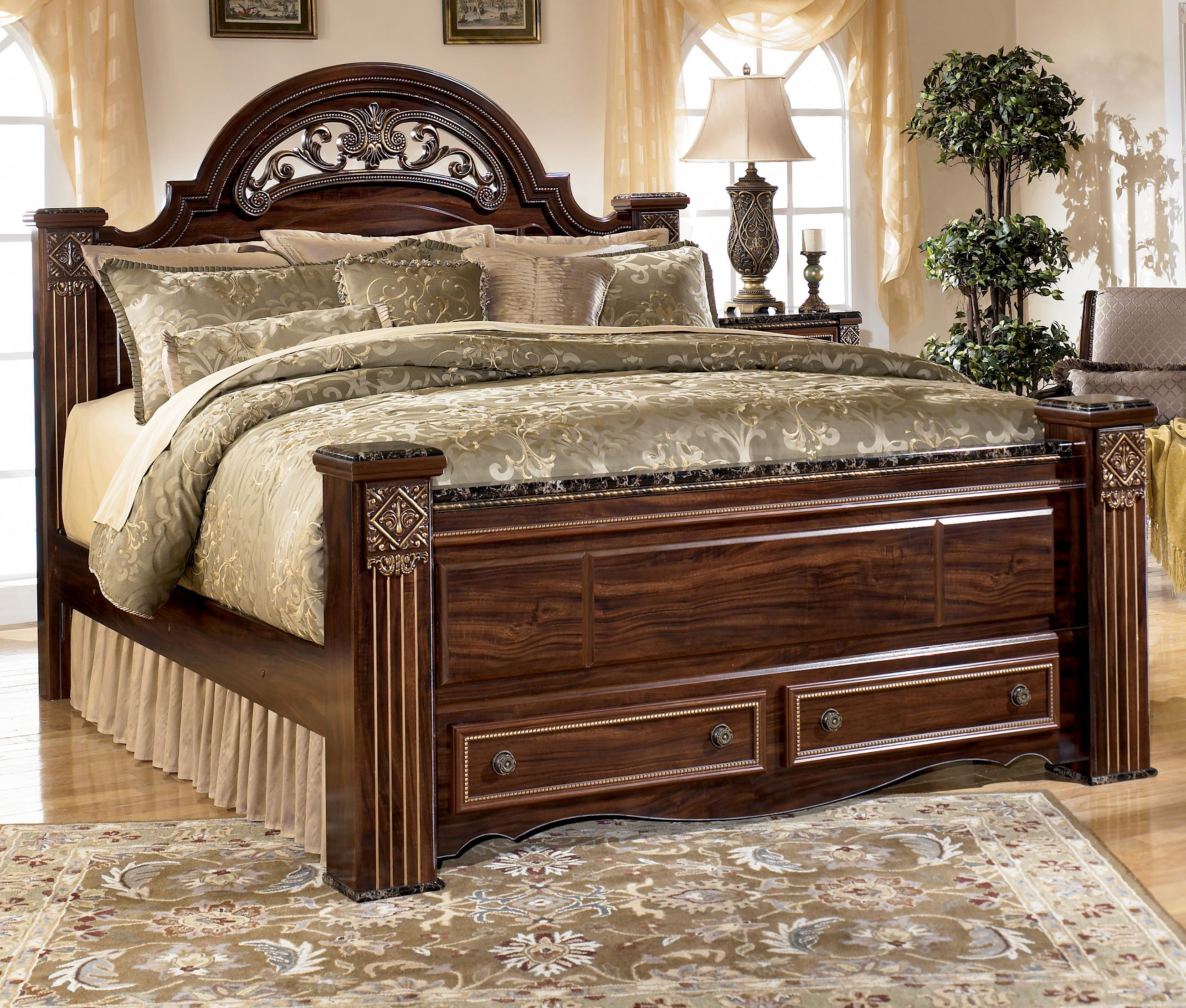 Ashley Signature Design Gabriela Traditional Queen Poster Storage Bed With Drawers Rooms And