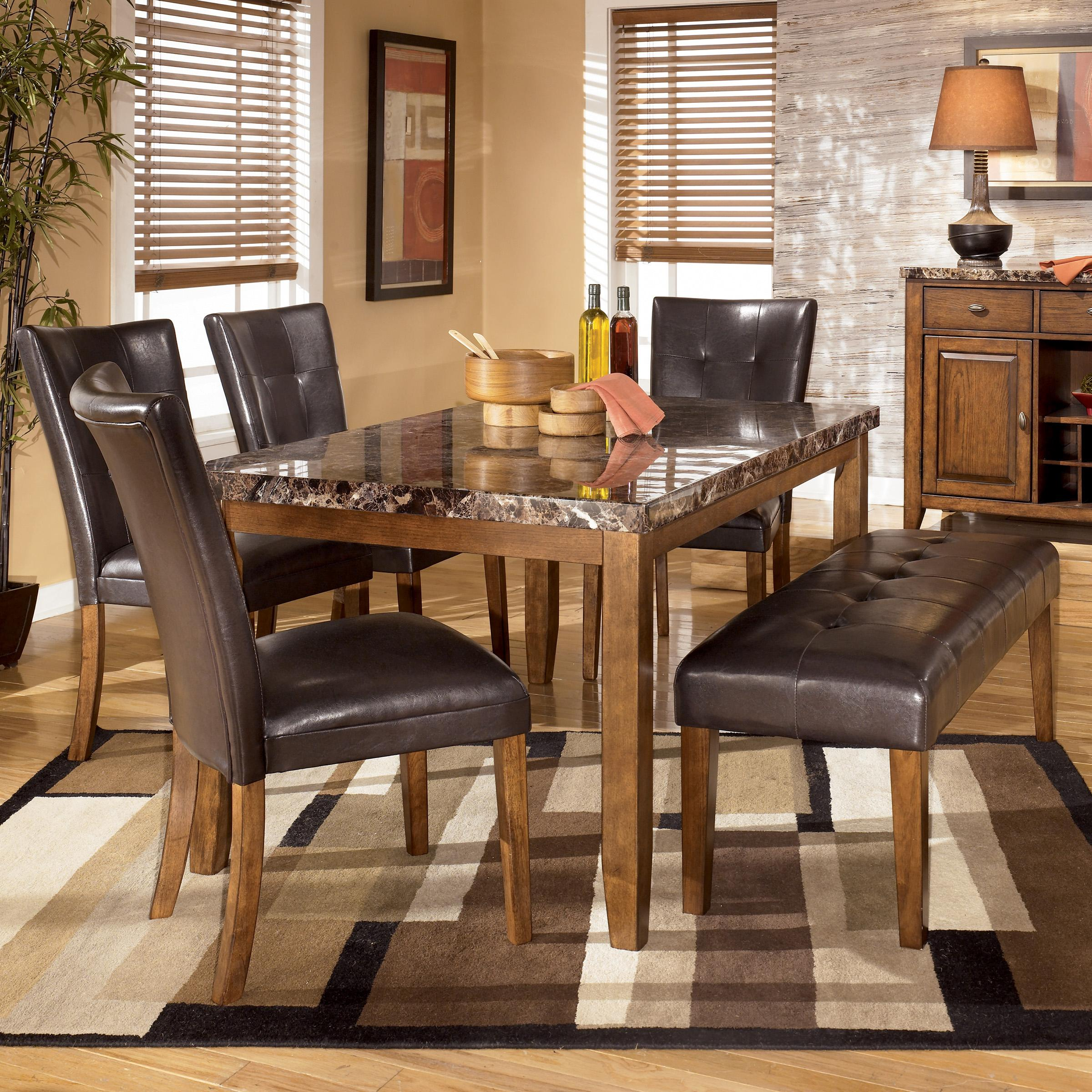 signature design by ashley lacey 6 piece dining table with side chairs bench set del sol. Black Bedroom Furniture Sets. Home Design Ideas