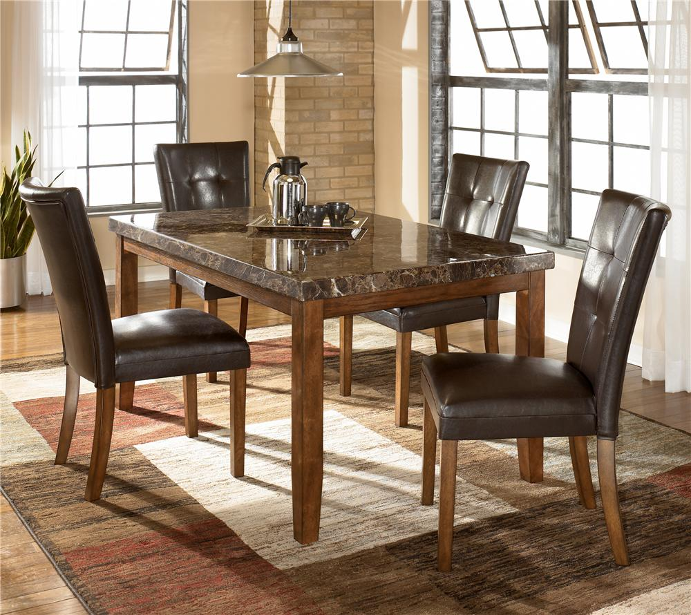 Signature design by ashley lacey 5 piece rectangular dining table upholstered chair set del for Ashley furniture 5 piece living room set