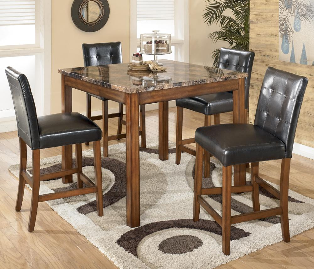 signature design by ashley theo d158 233 5 piece square counter height table set with bar stools. Black Bedroom Furniture Sets. Home Design Ideas
