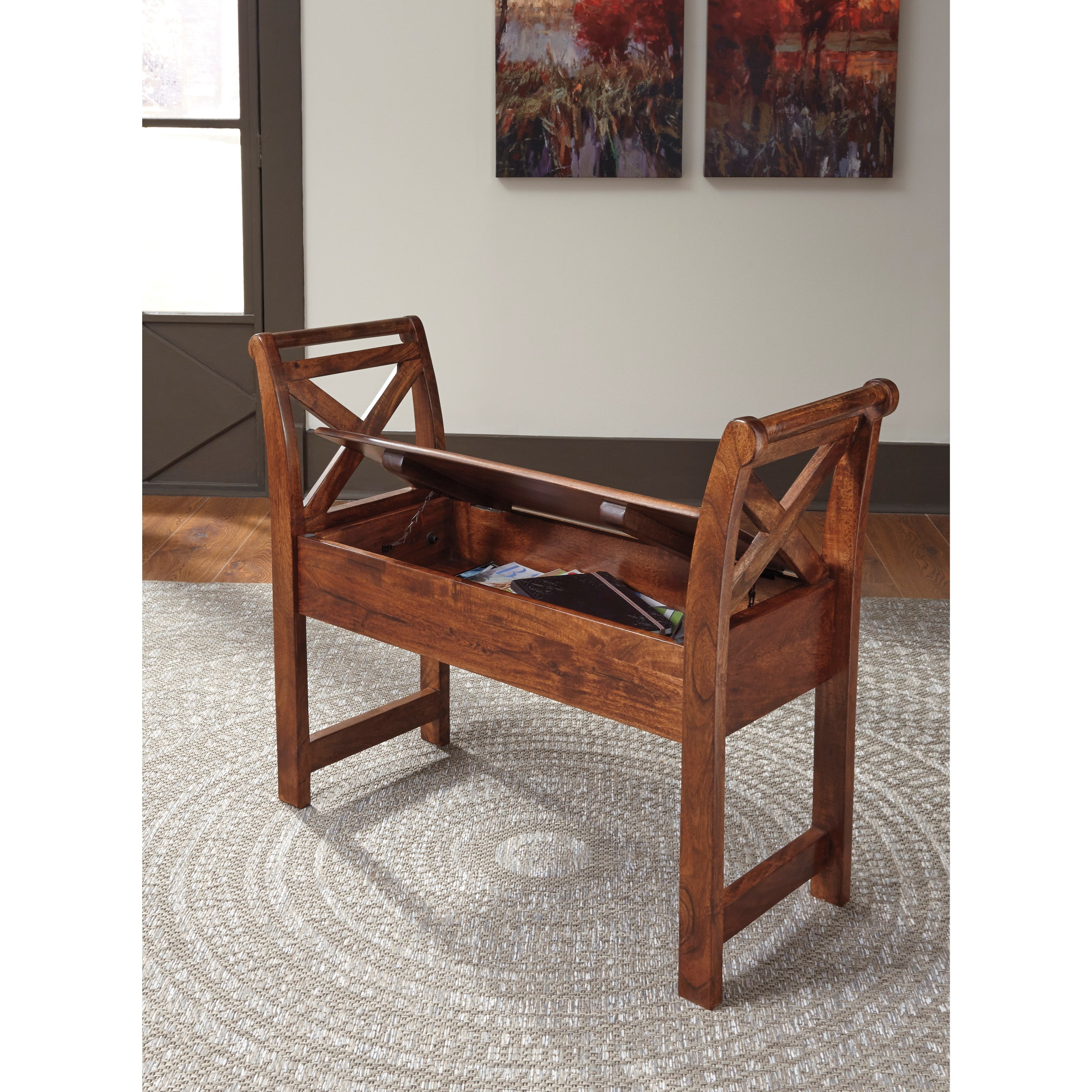 Ashley Signature Design Abbonto T800 111 Acacia Solid Wood Accent Bench With Storage Dunk
