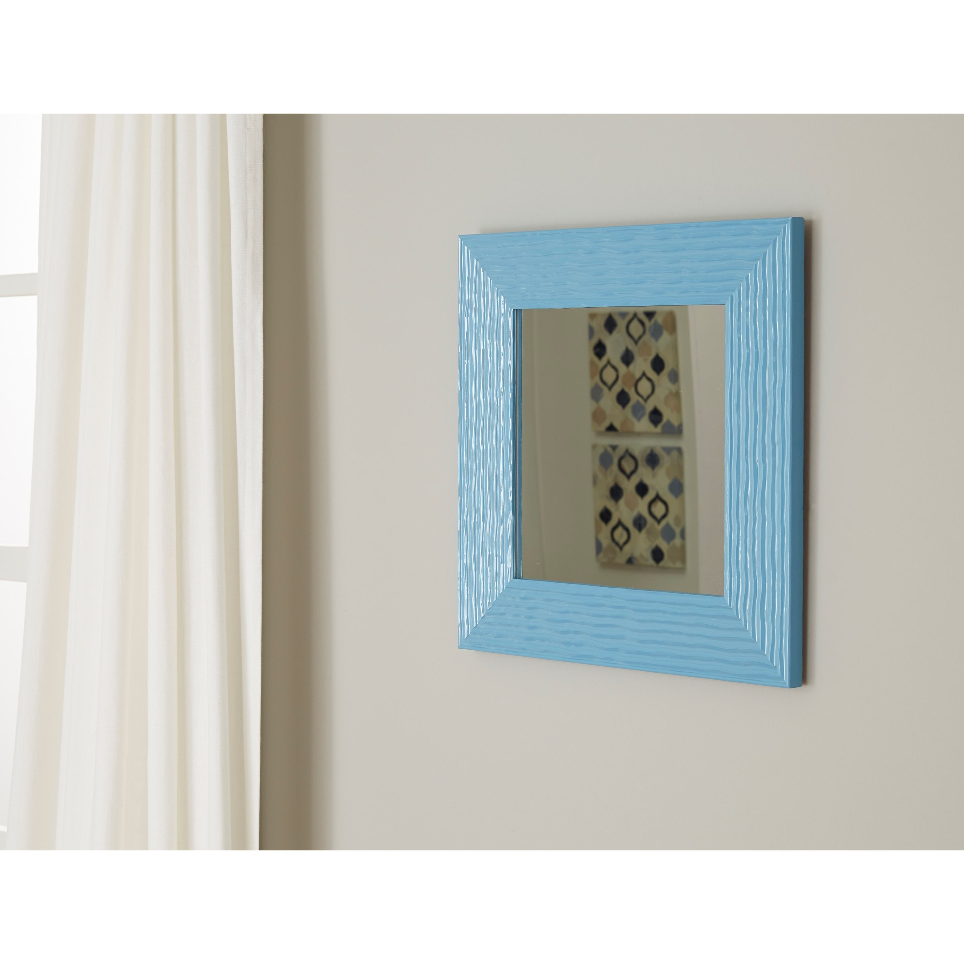 Signature design by ashley accent mirrors odelyn aqua wall for Accent wall mirrors