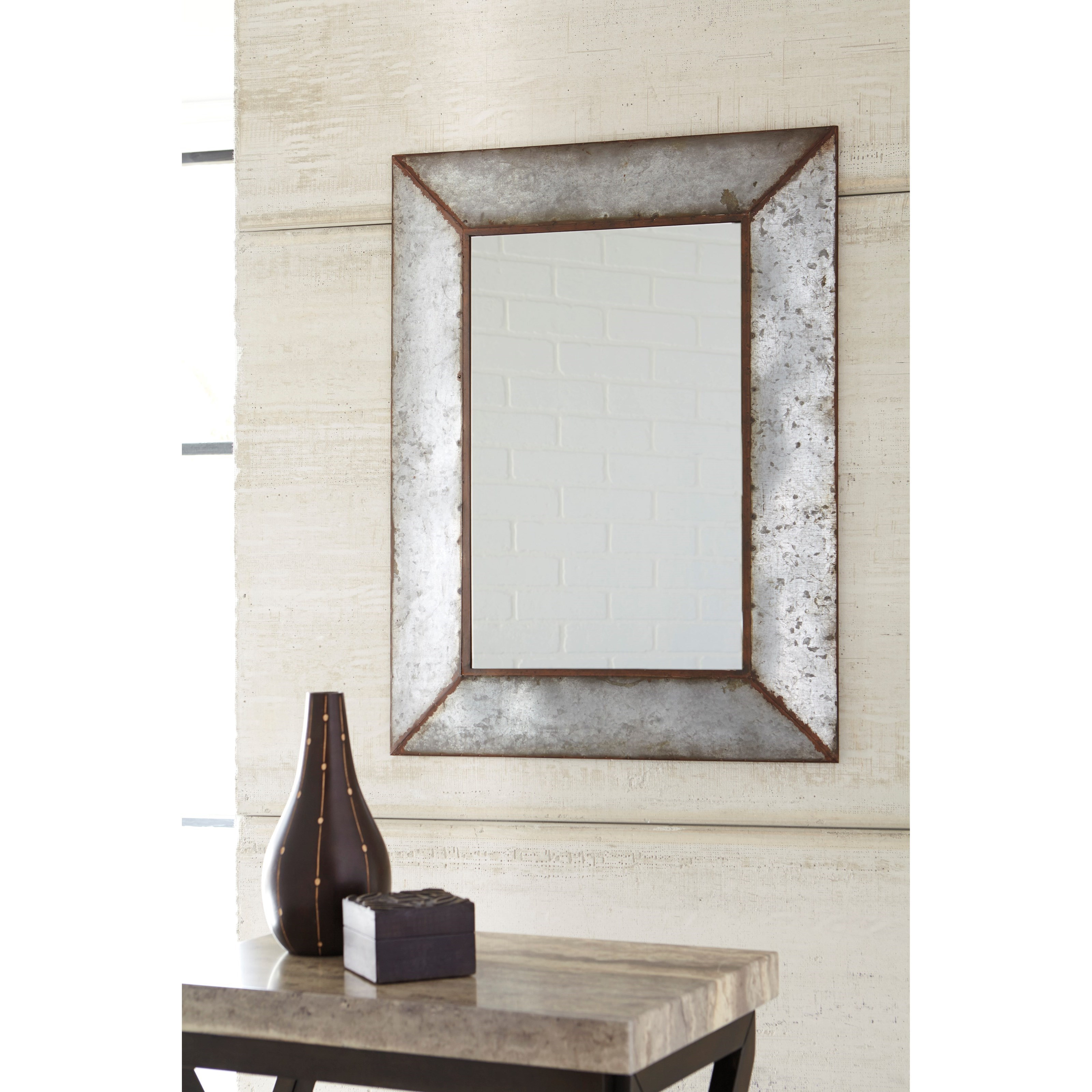 Signature design by ashley accent mirrors o 39 tallay antique for Accent wall mirrors