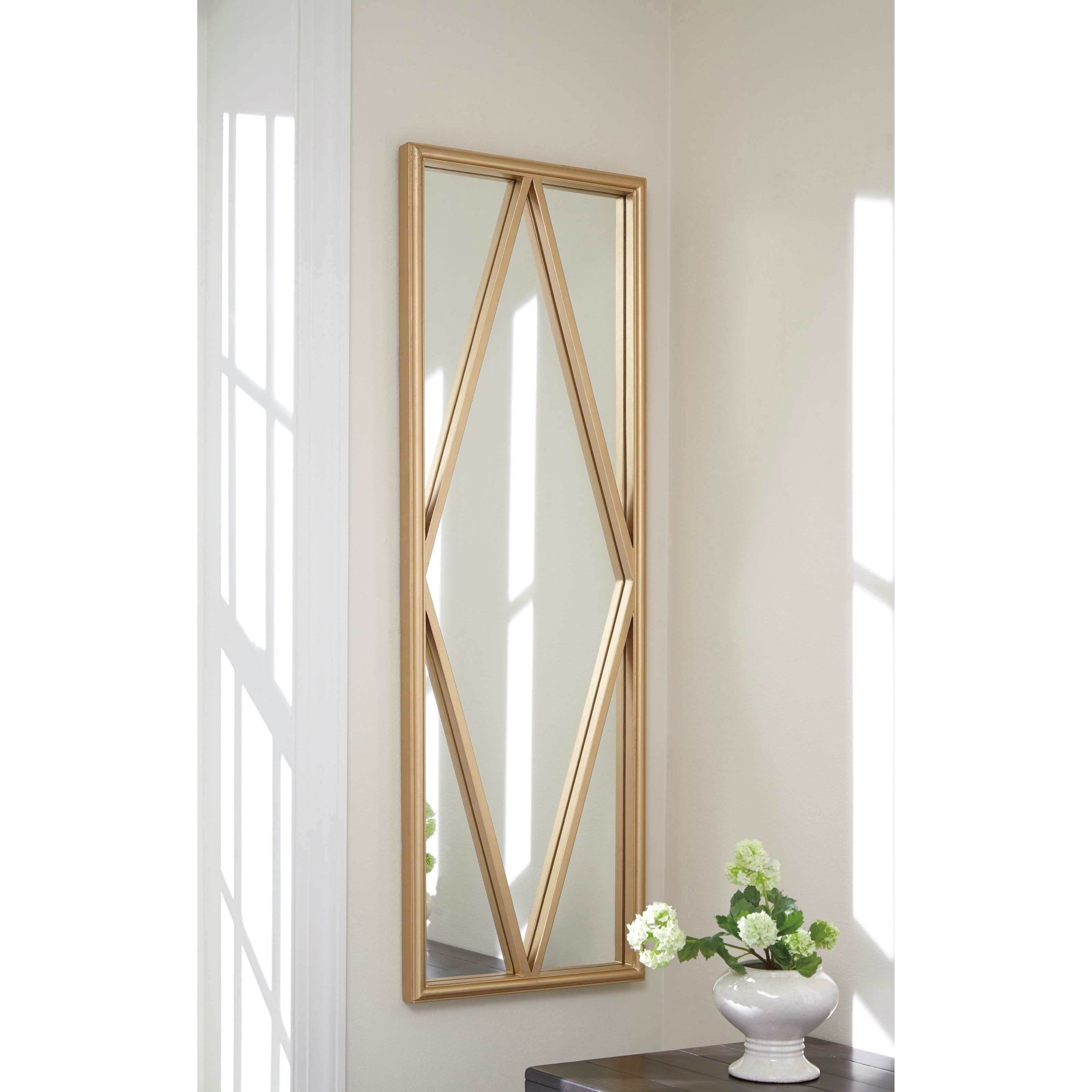 Signature design by ashley accent mirrors offa gold finish for Accent wall mirrors