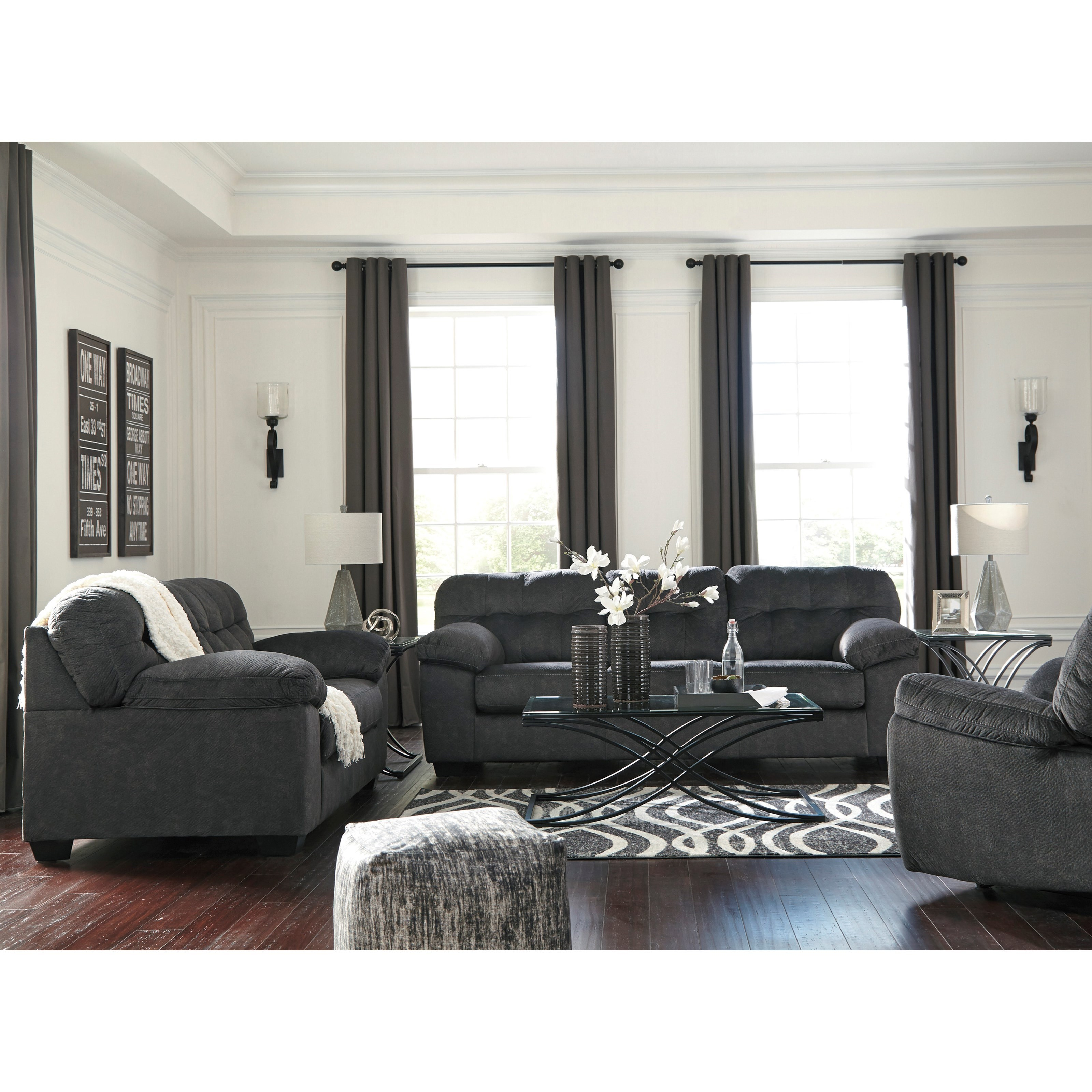 Signature design by ashley accrington stationary living for Living room furniture groups