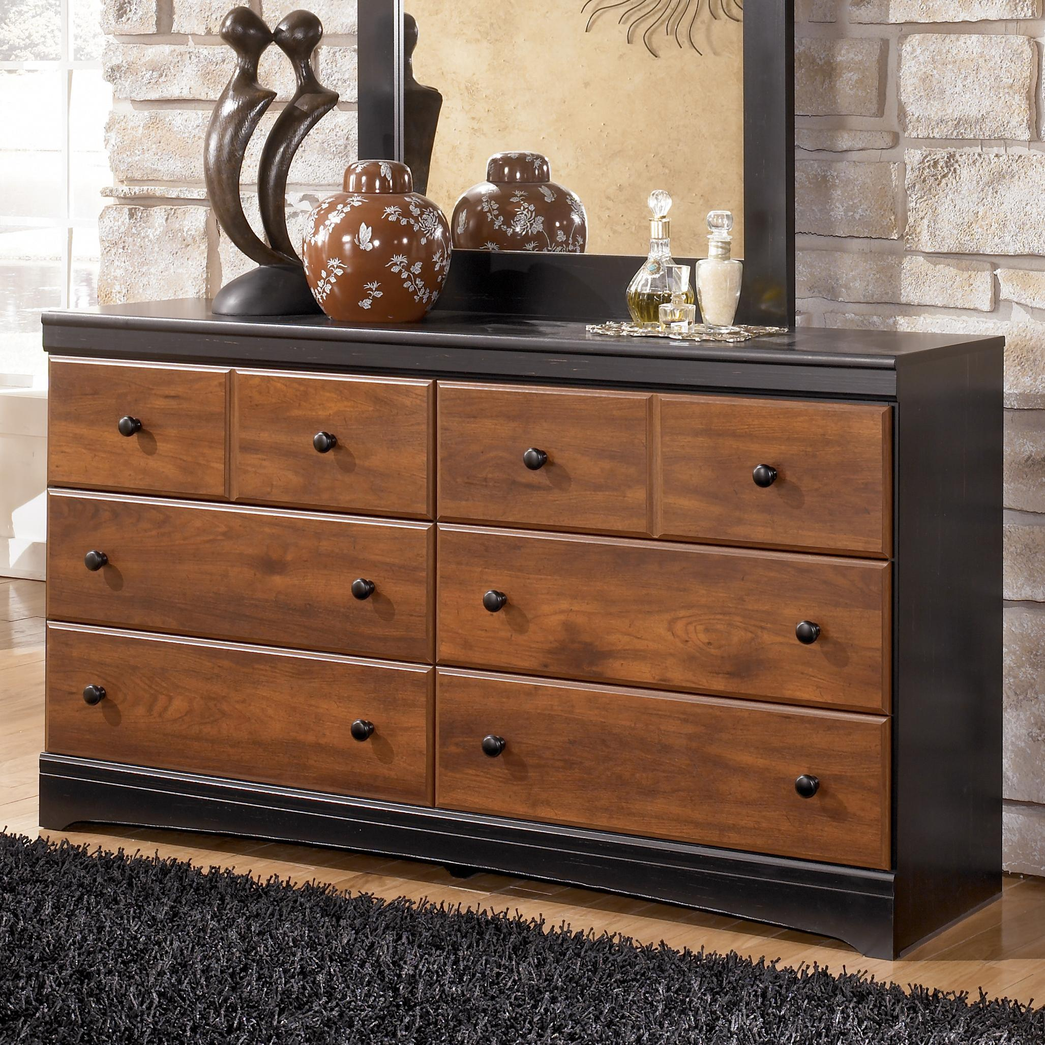 Ashley Signature Design Aimwell B136 31 Two Tone Finish Dresser With 6 Drawers Dunk Bright