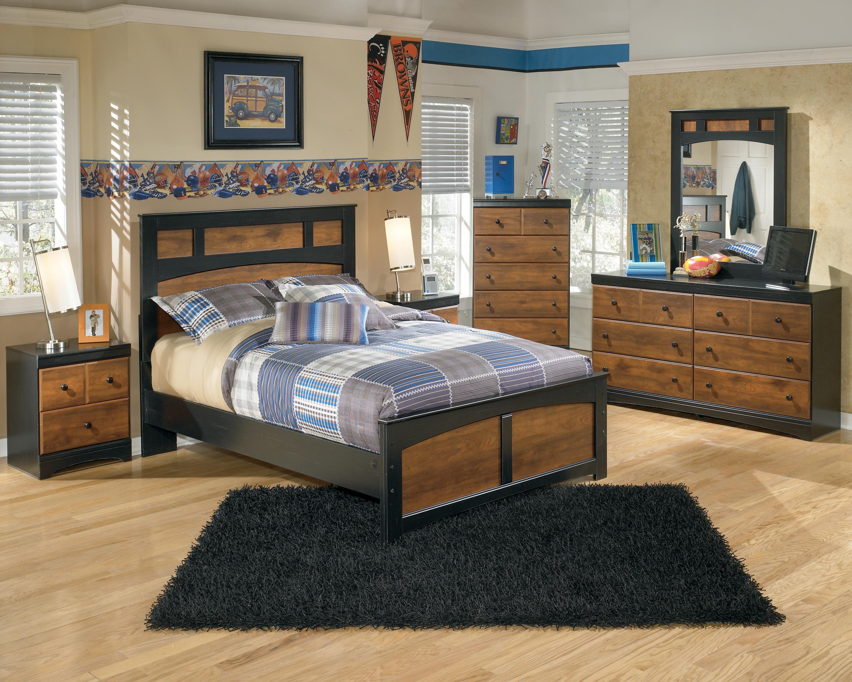 Ashley Signature Design Aimwell Two Tone Finish Full Platform Bed Dunk Bright Furniture