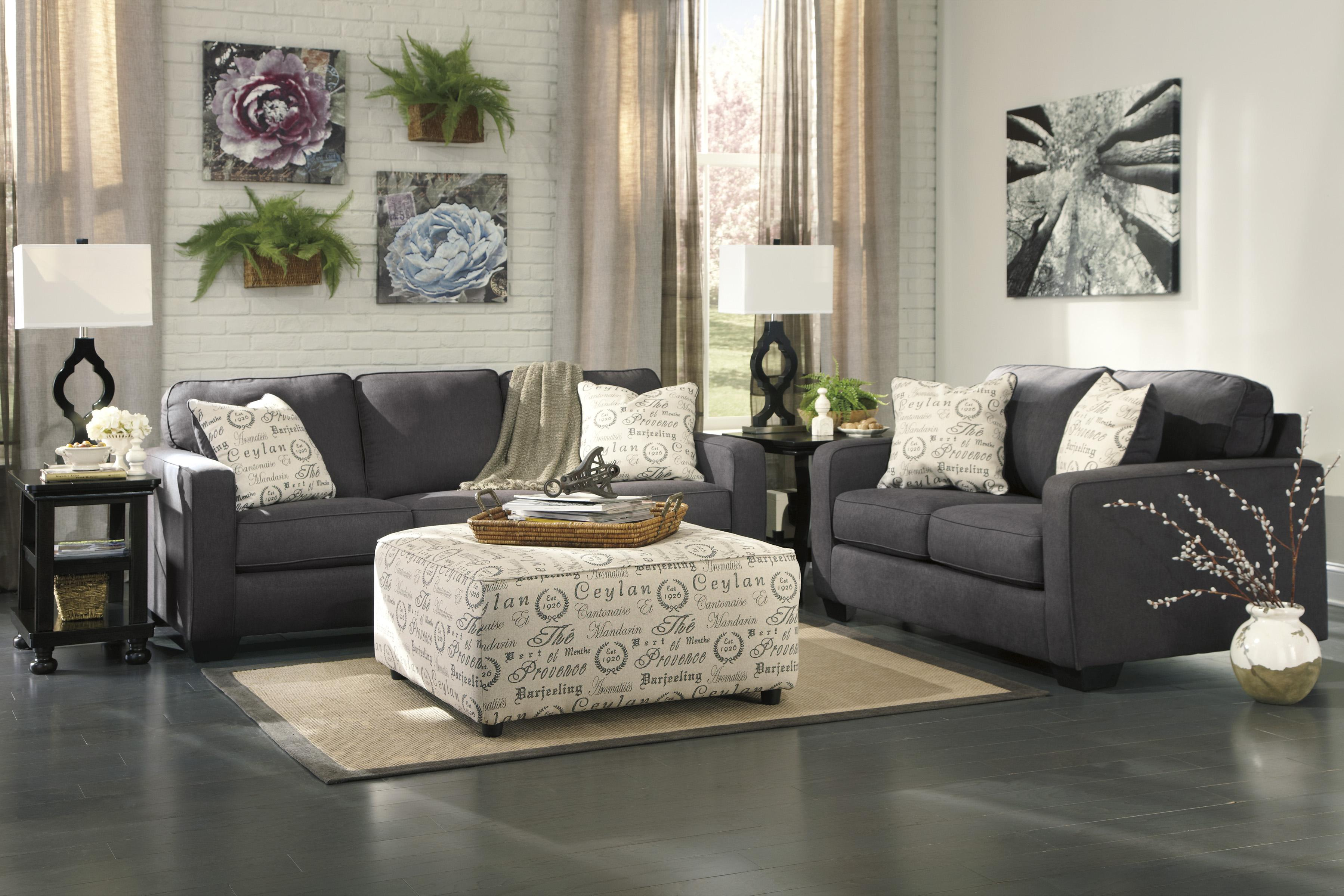 Signature design by ashley alenya charcoal stationary for Living room furniture groups