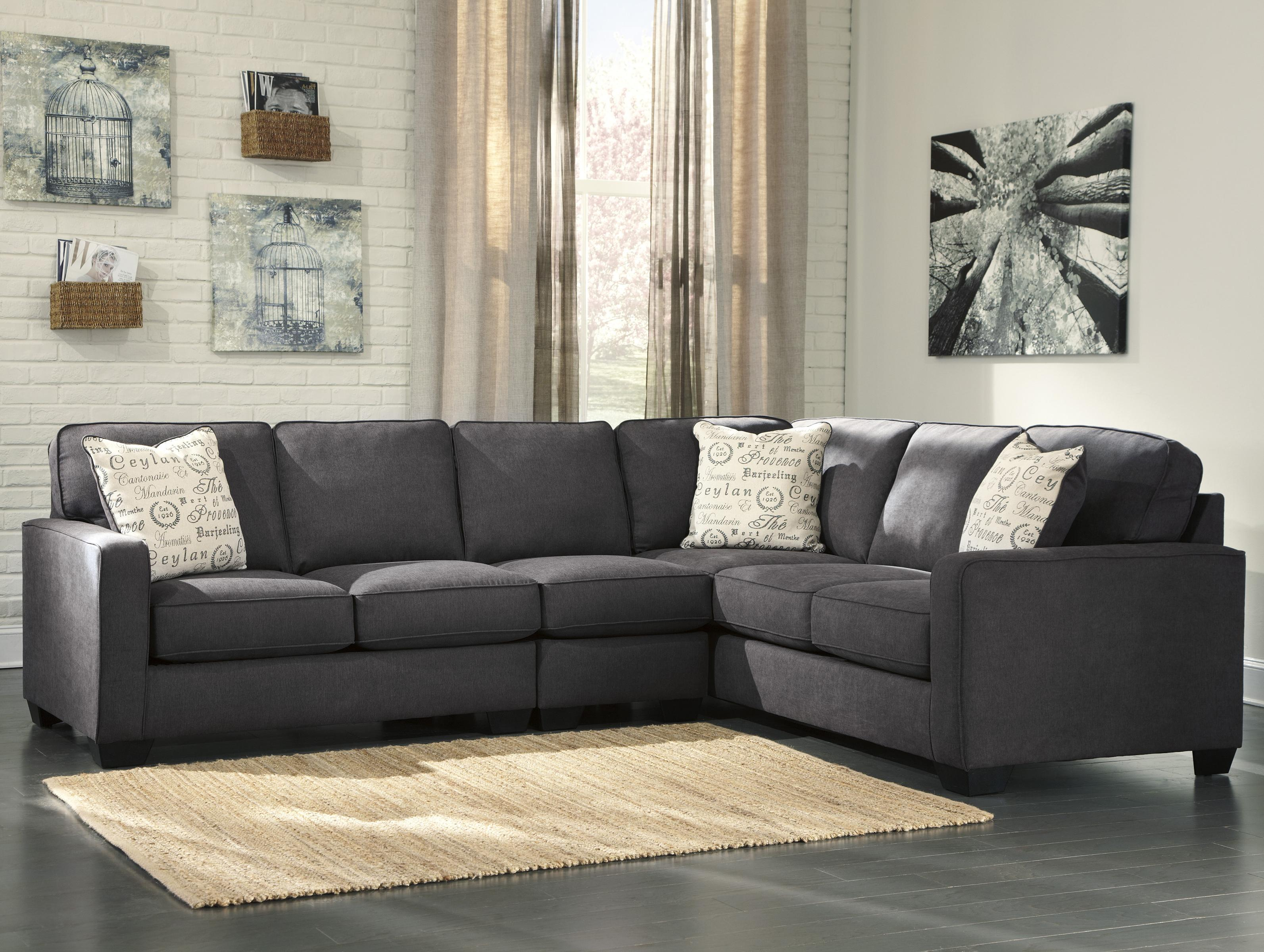 Signature design by ashley alenya charcoal 3 piece for Alenya 2 piece sofa sectional in charcoal