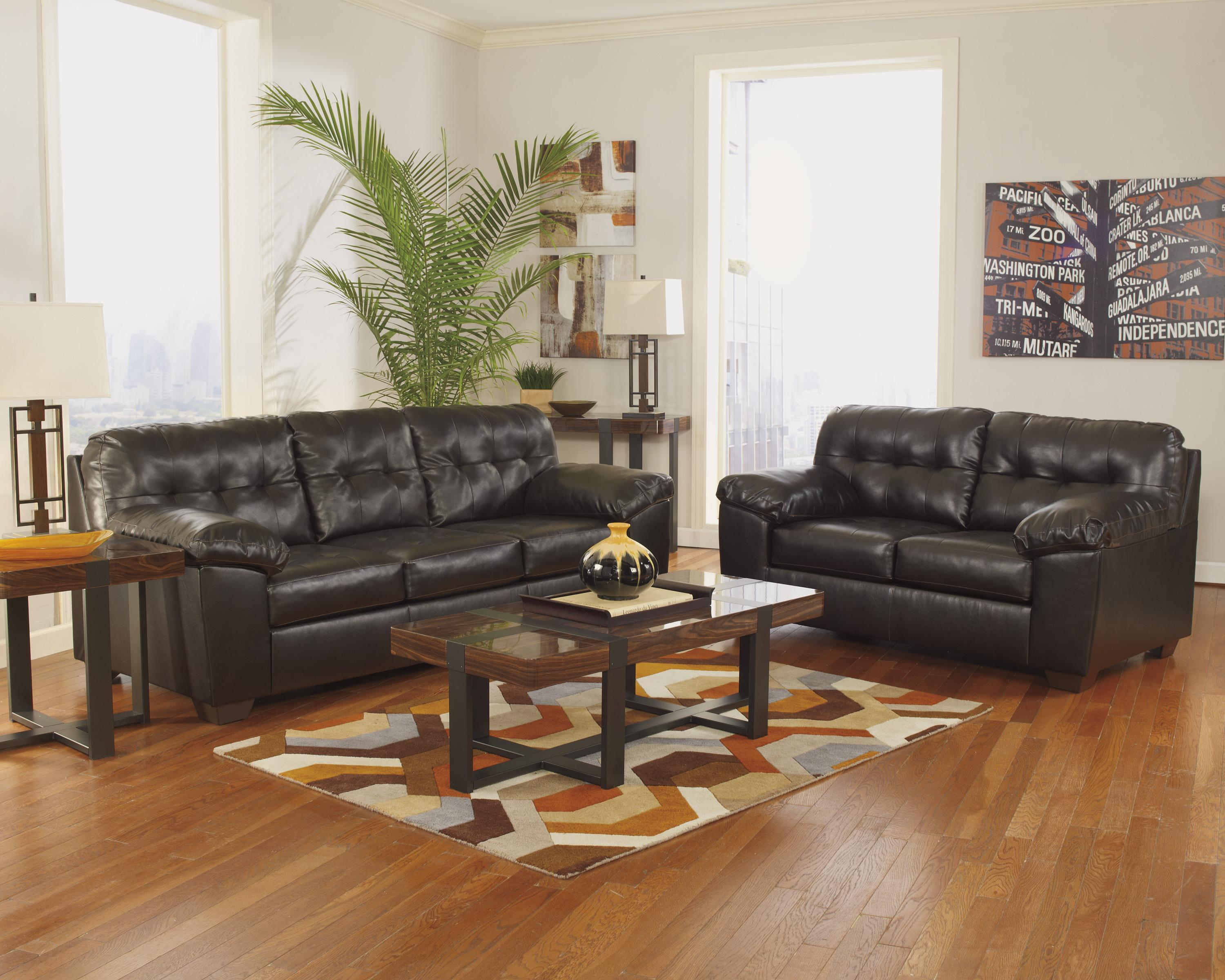 Signature Design By Ashley Alliston Durablend Chocolate Stationary Living Room Group