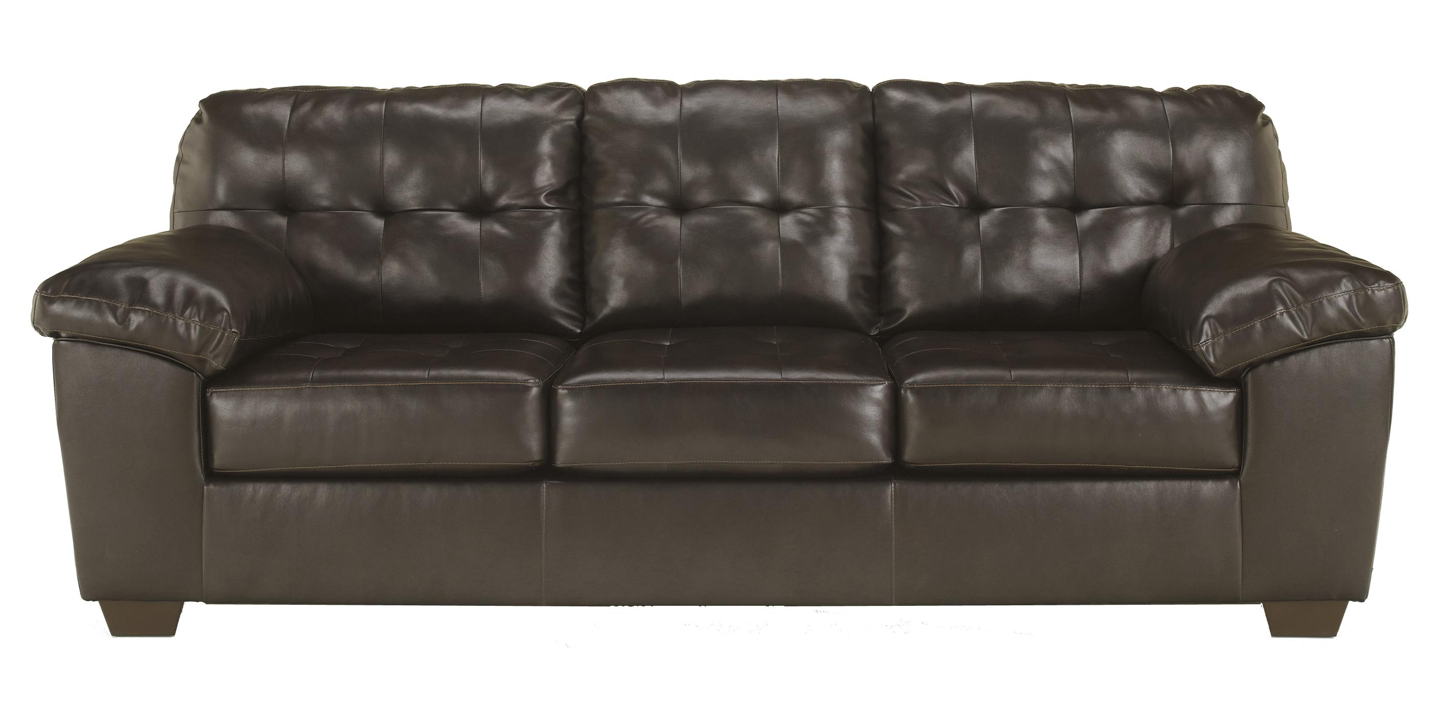 signature design by ashley alliston durablend chocolate contemporary sofa w pillow arms. Black Bedroom Furniture Sets. Home Design Ideas