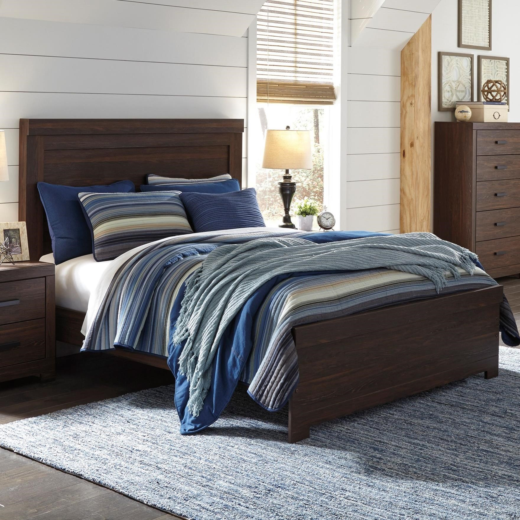 Signature design by ashley arkaline king panel bed royal for Panel bed mattress