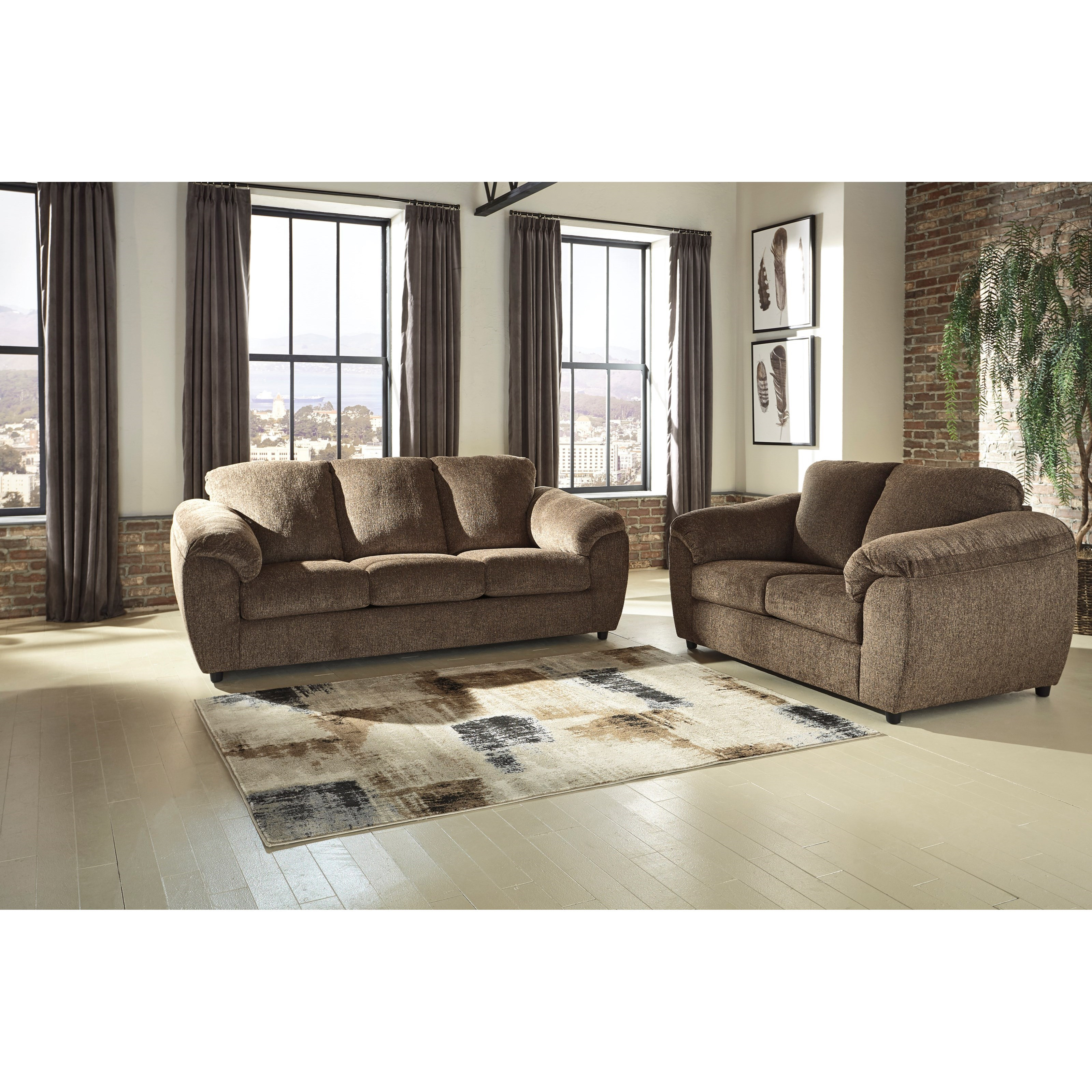 Signature design by ashley azaline stationary living room for Living room furniture groups