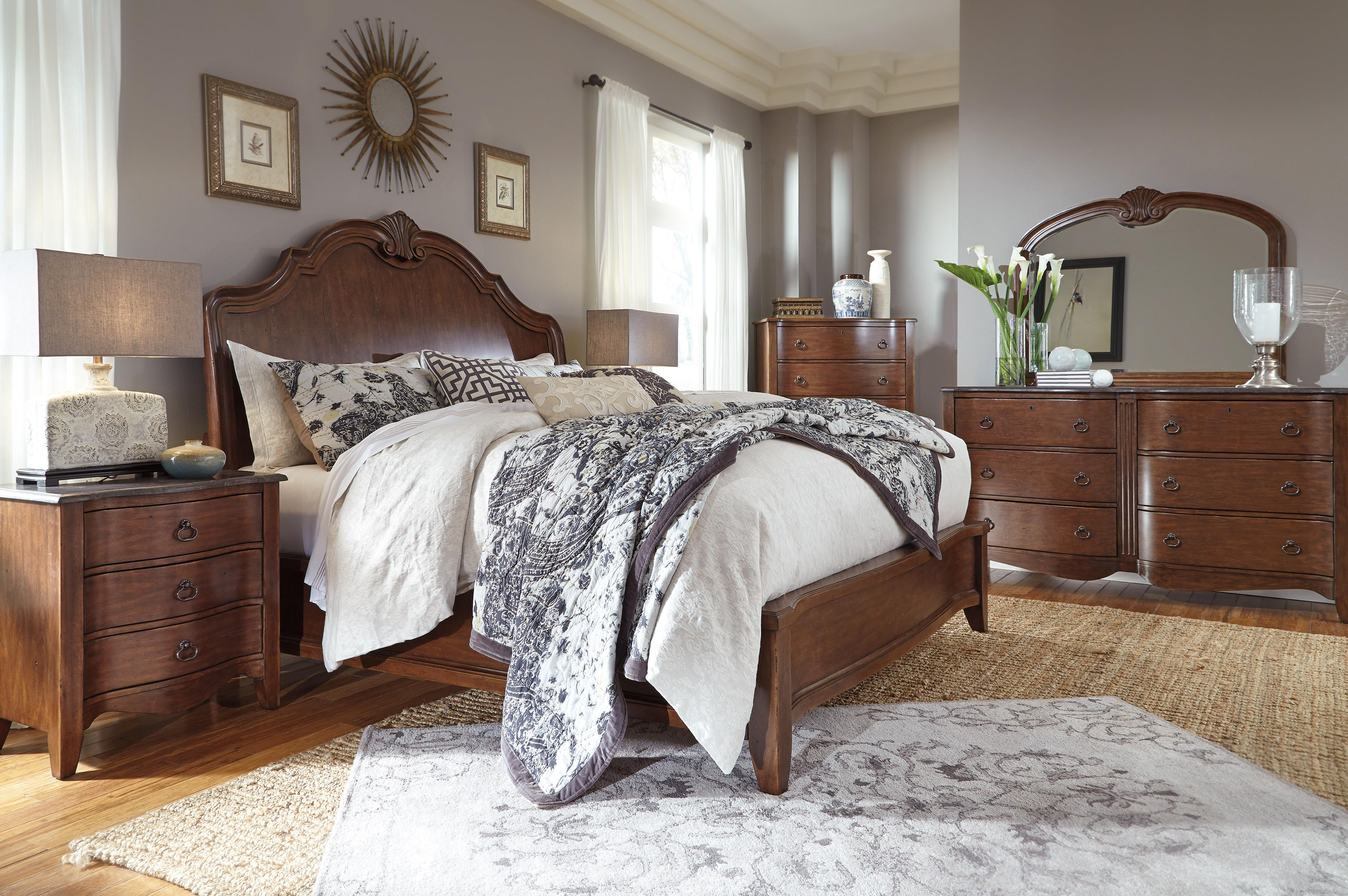 Signature design by ashley balinder transitional queen bed for Bedroom furniture 37027