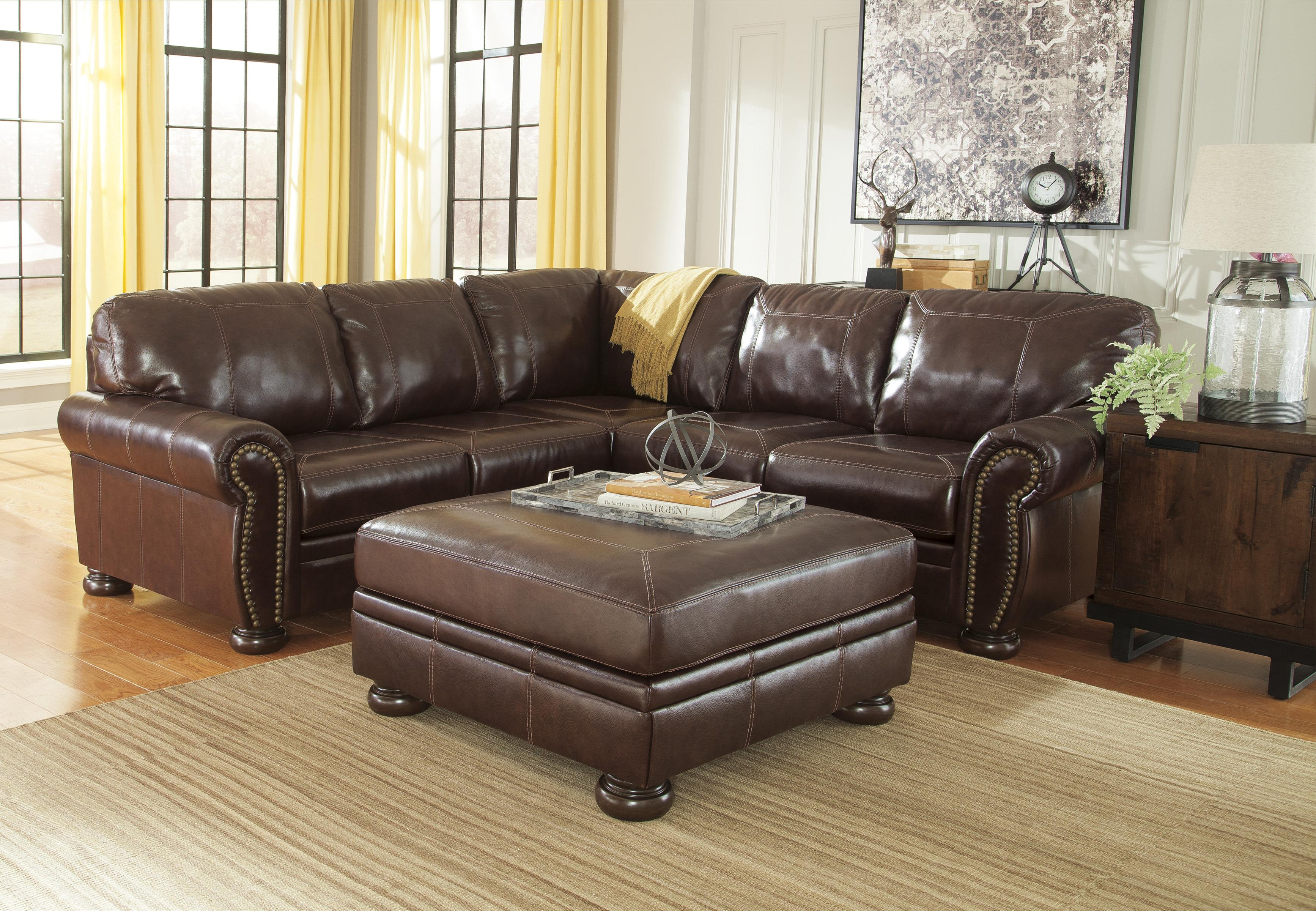 Signature Design By Ashley Banner 5040408 Square Leather Match Oversized Accent Ottoman With Bun