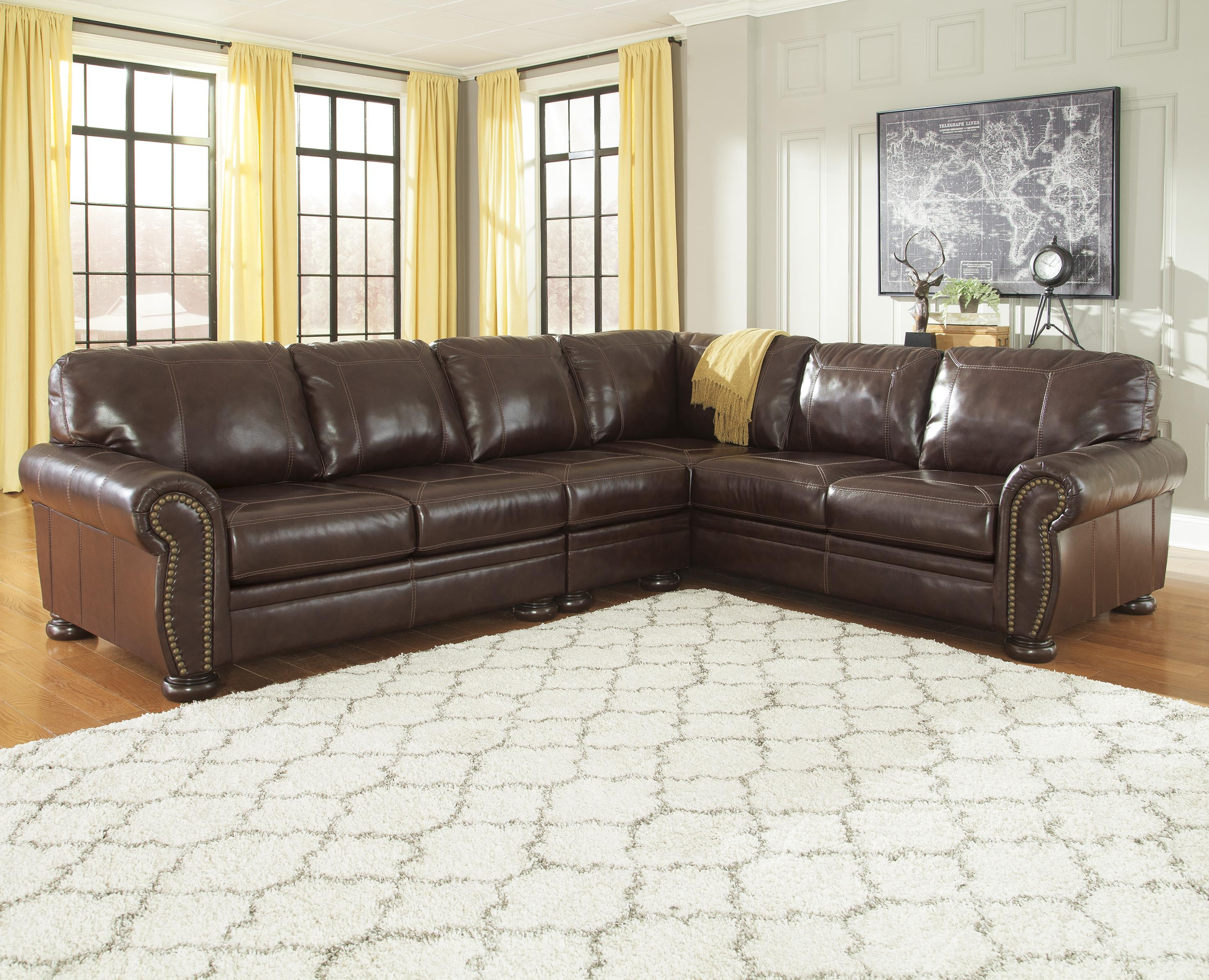 Signature design by ashley francesco 3 piece leather match for 3 piece brown leather sectional sofa