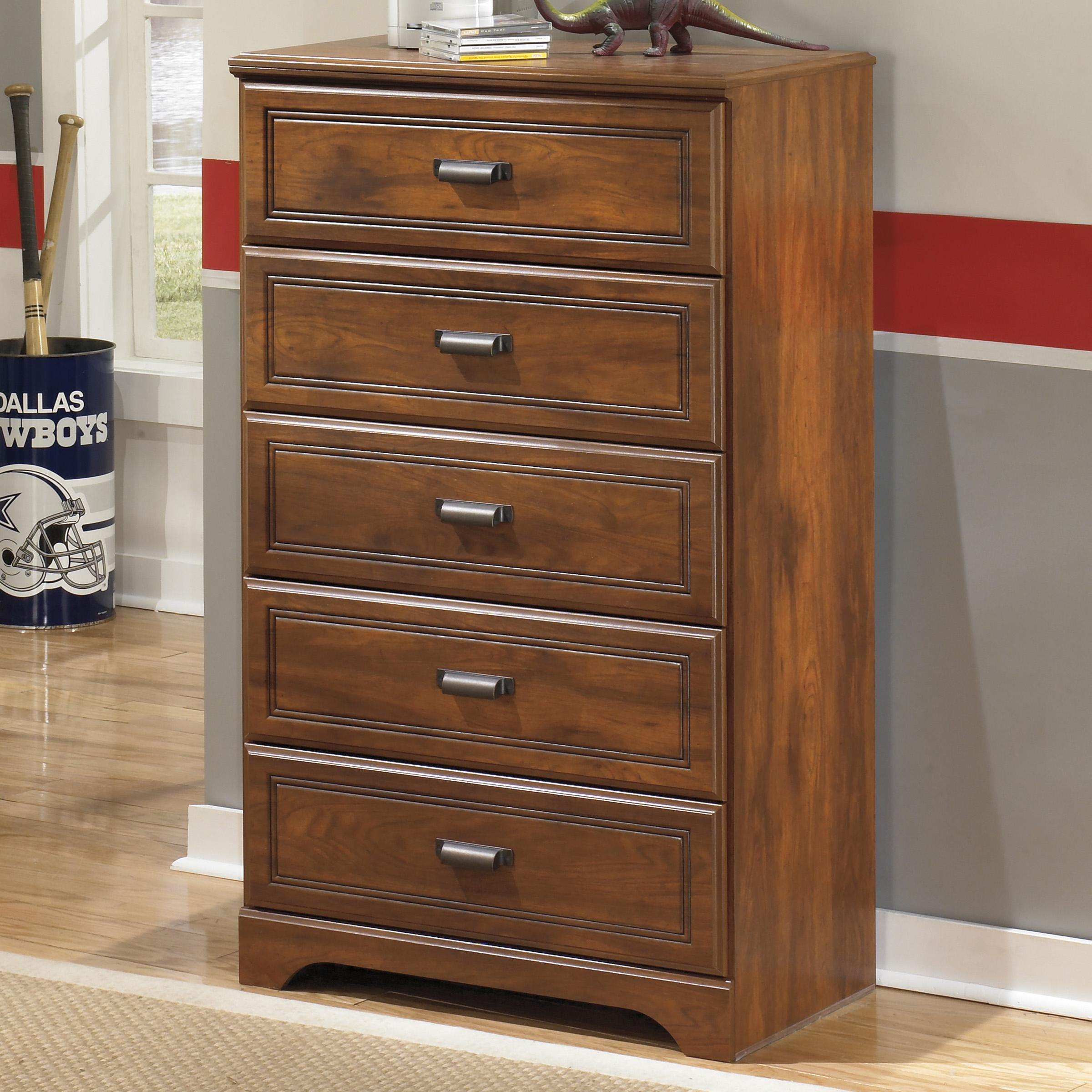 Signature Design By Ashley Barchan Five Drawer Chest Vandrie Home Furnishings Chest Of Drawers