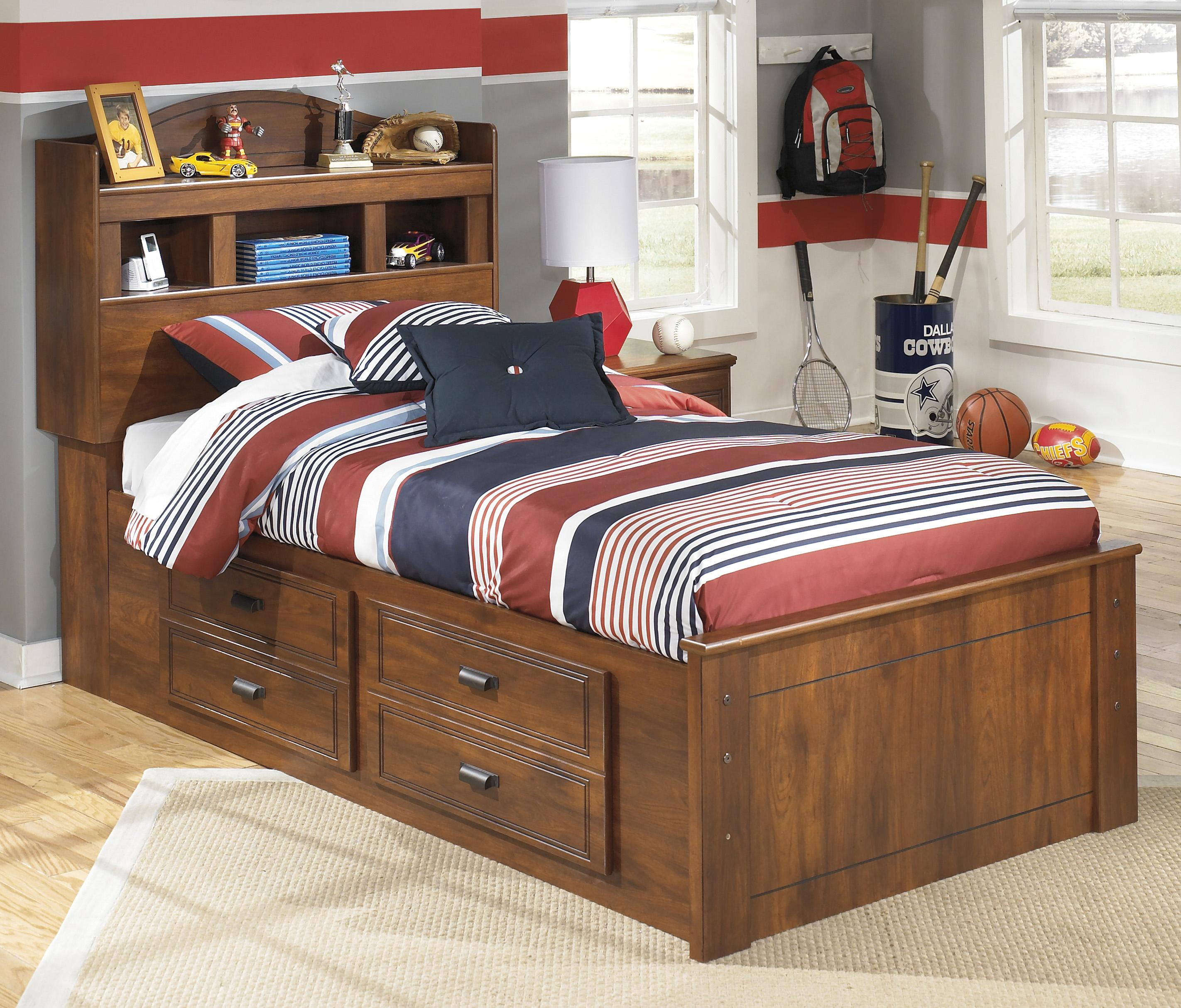 signature design by ashley barchan twin bookcase bed with underbed storage value city. Black Bedroom Furniture Sets. Home Design Ideas