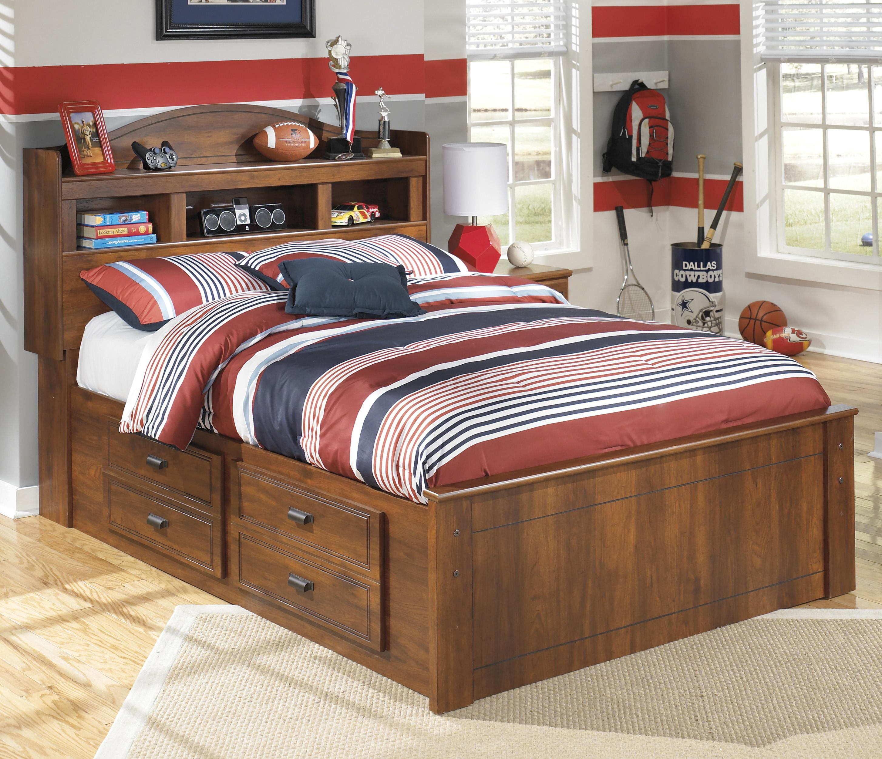 Signature Design By Ashley Barchan Full Bookcase Bed With Underbed Storage Del Sol Furniture