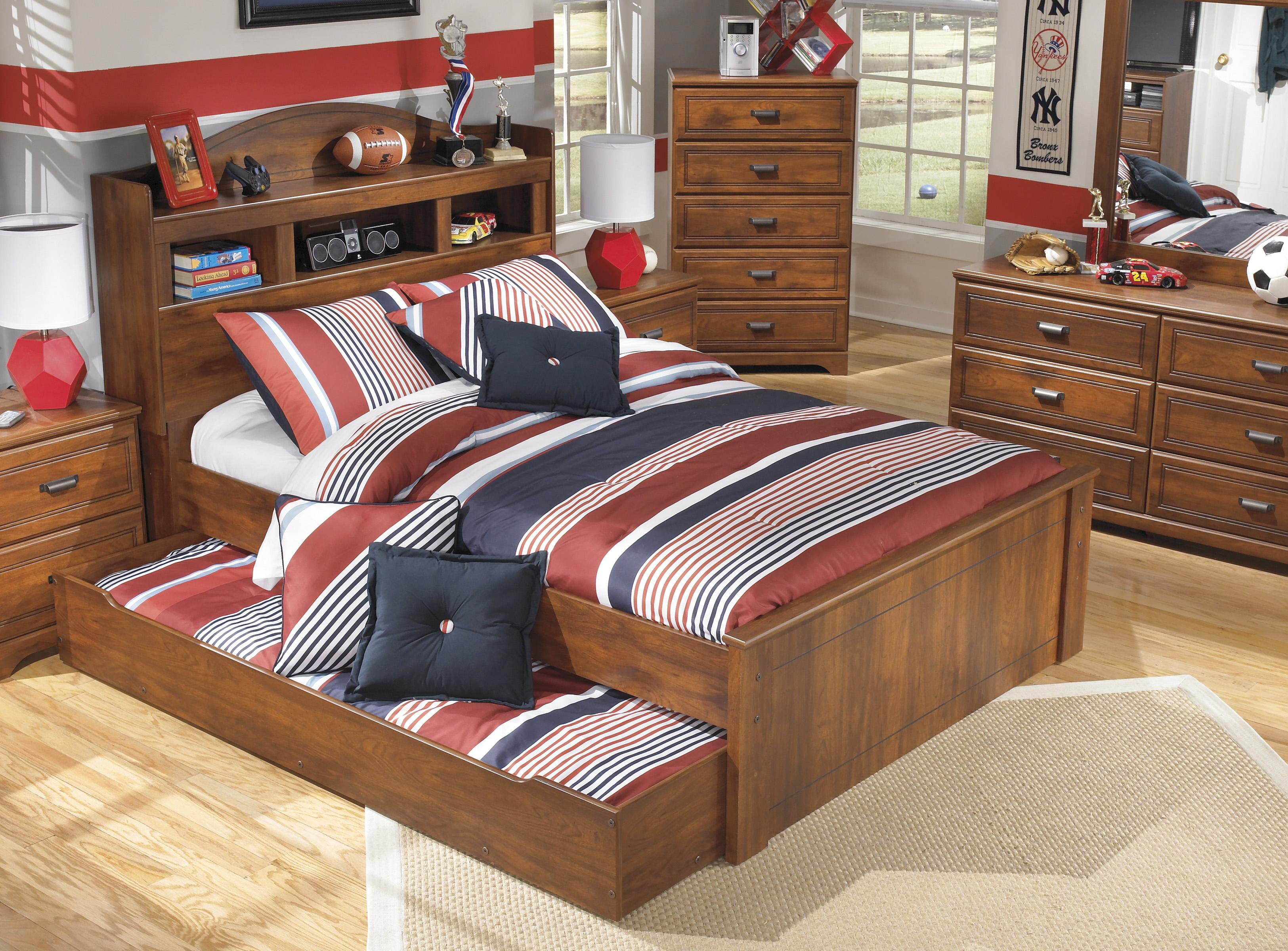 Signature design by ashley barchan full bookcase bed with trundle under bed storage unit Ashley home furniture bedroom set