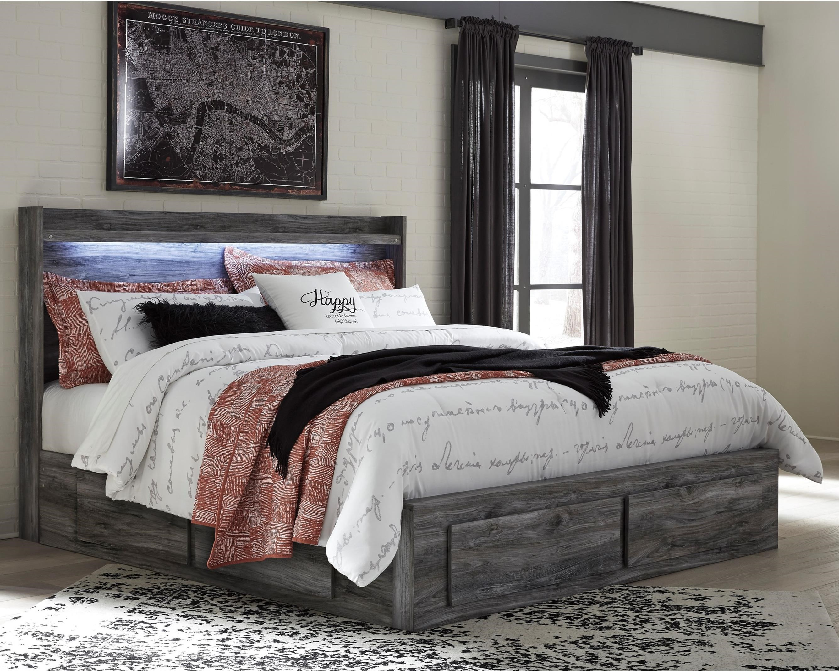 Signature design by ashley baystorm king storage bed with 6 drawers royal furniture platform for Bedroom set with drawers under bed