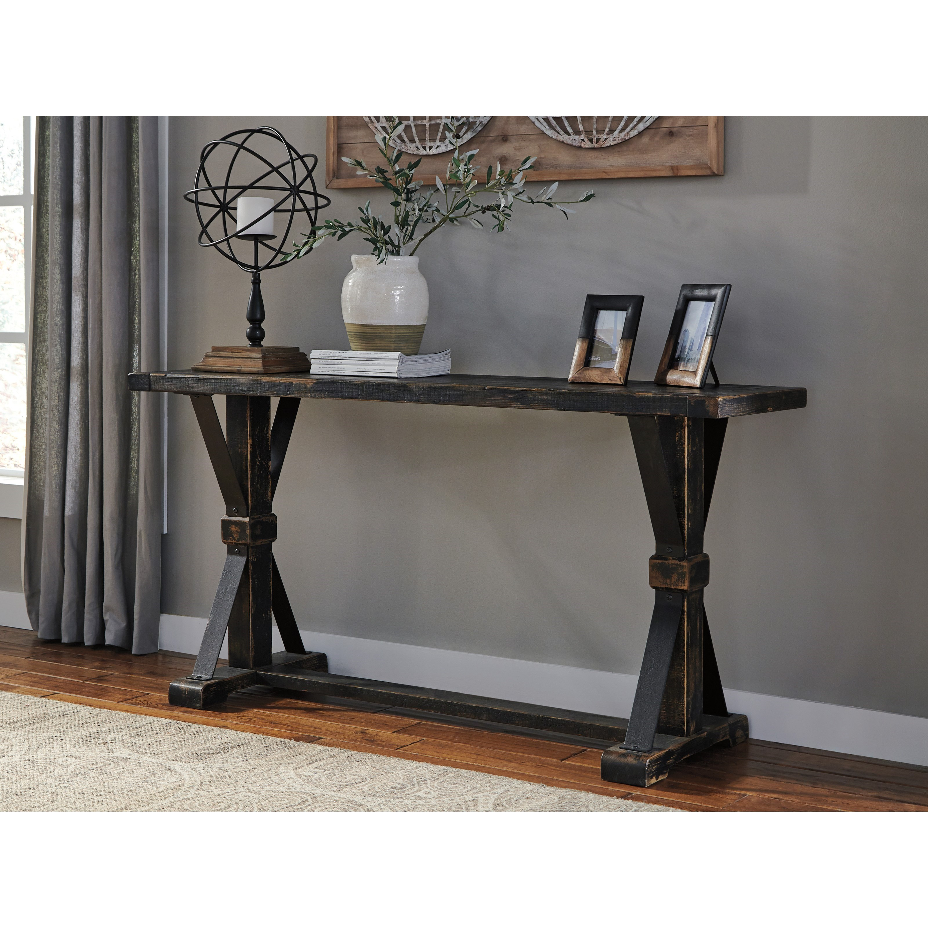 Signature design by ashley beckendorf t096 4 rustic for Sofa table vs console table